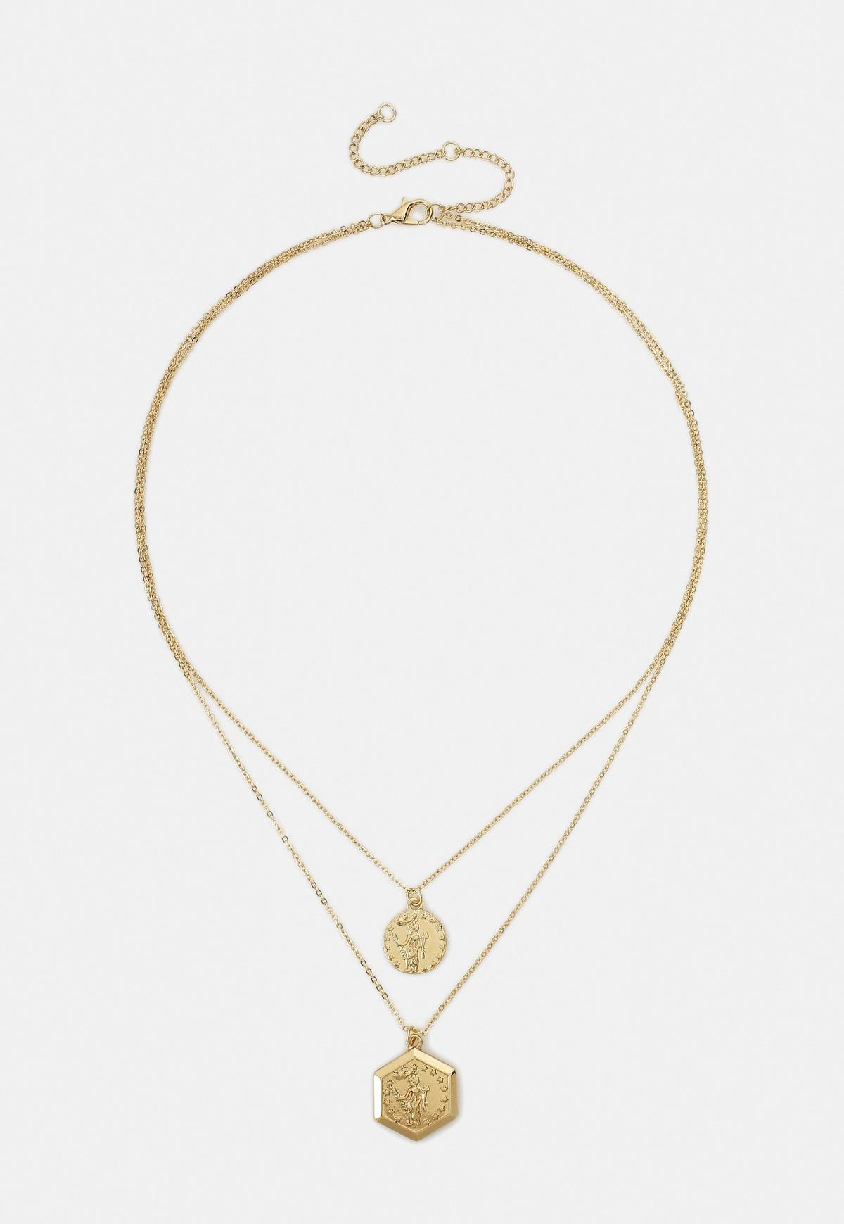 Gold Look Hexagon Coin Charm Necklace Missguided