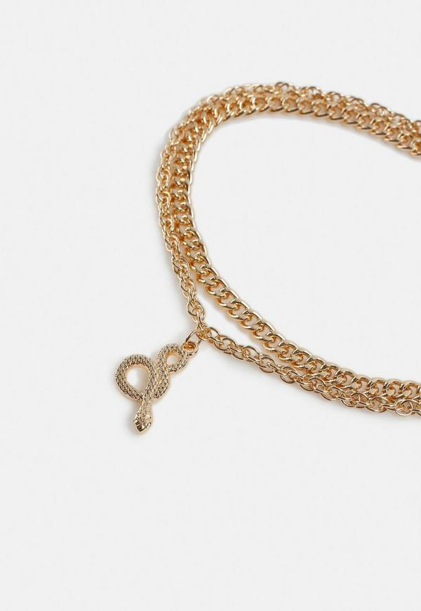 dc8e339bd20b1 Gold Look Snake Double Chain Anklet