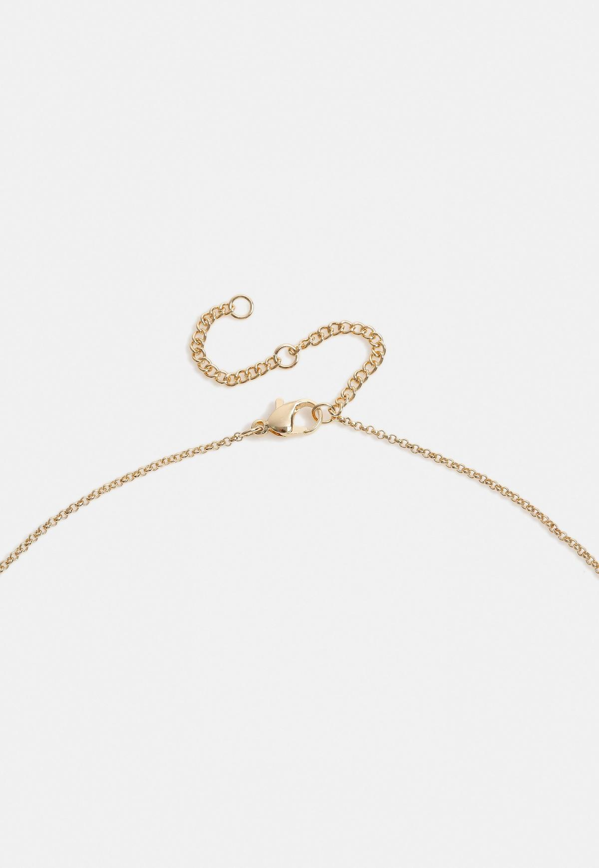 Gold Look Metal Bar Necklace Missguided