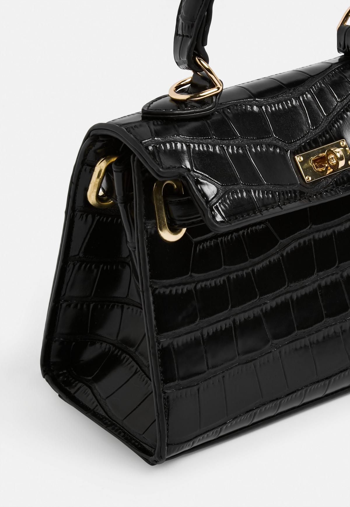 Mini sac à main noir croco Stassie x Missguided