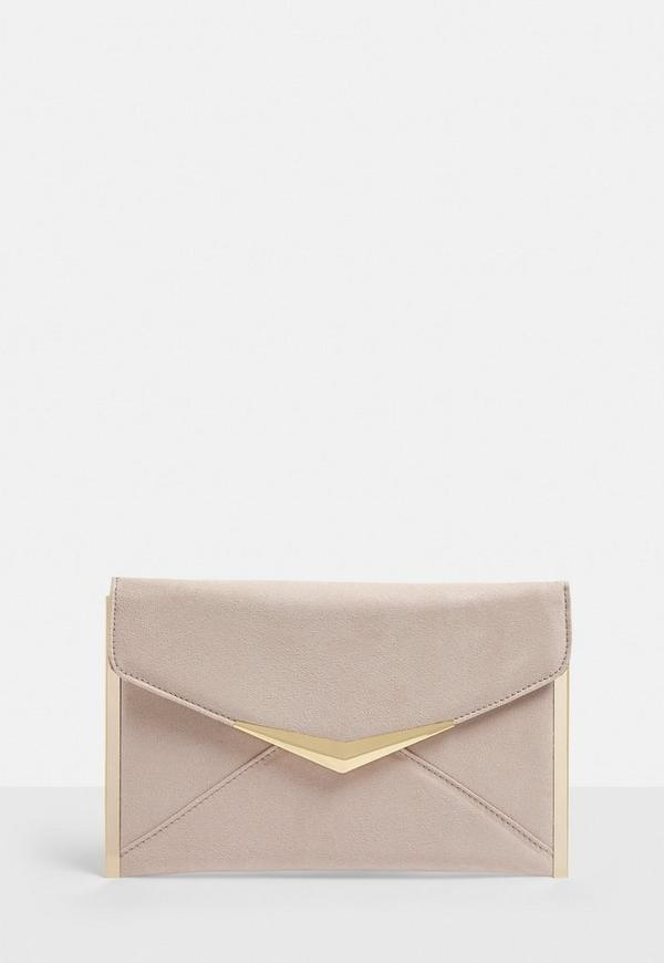 perfect quality discount for sale hot-selling Nude Metal Trim Suede Clutch Bag