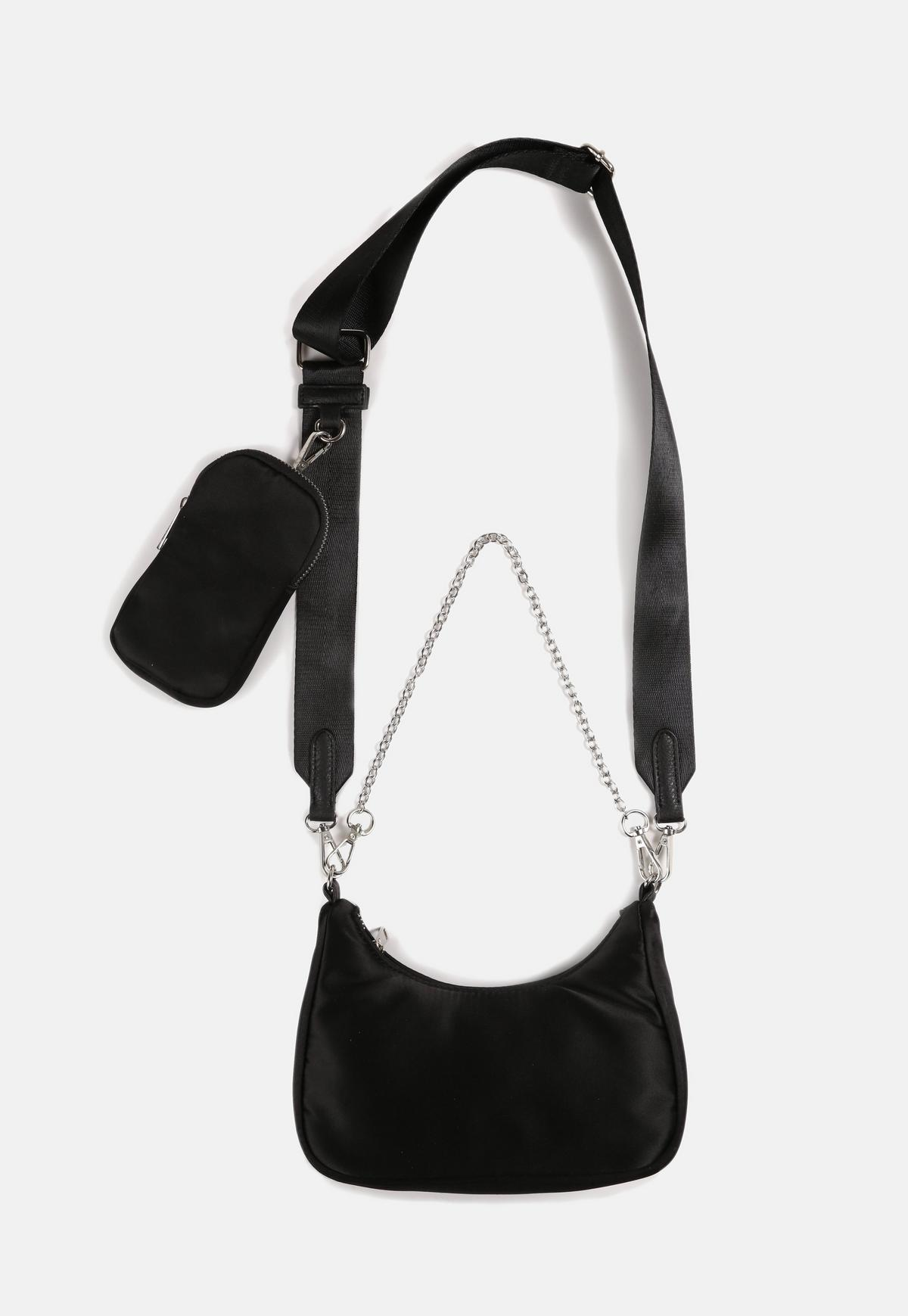 Black Satin Cross Body Double Bag Missguided
