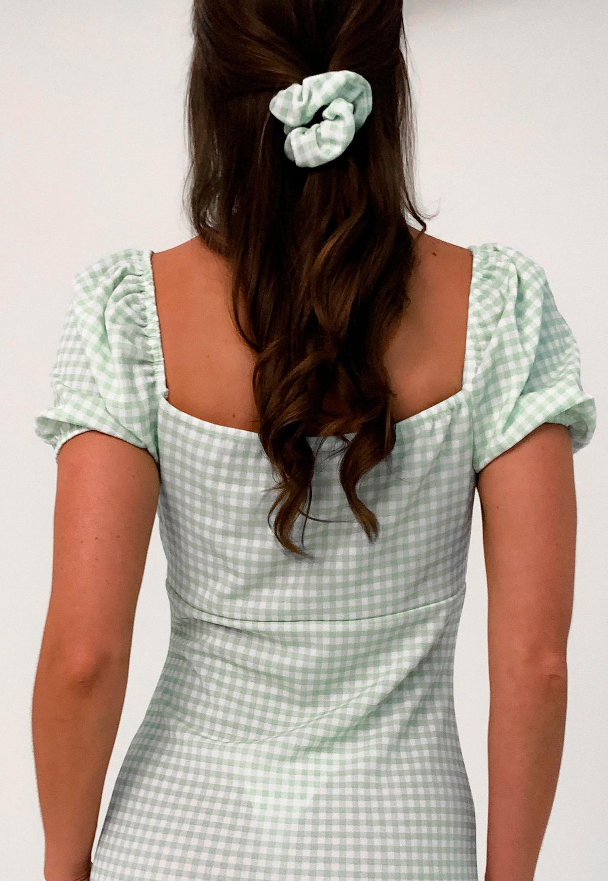 sage gingham scrunchie