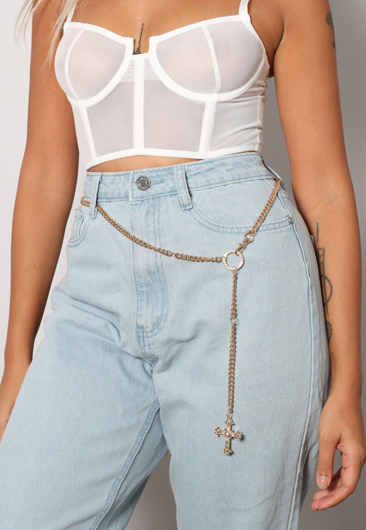 Gold Look Cross Detail Chain Belt   Missguided