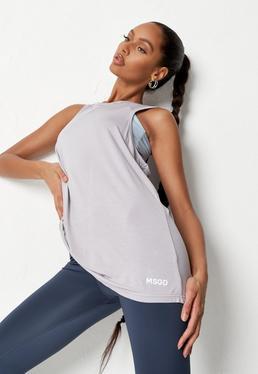 Grey MSGD Ruched Back Gym Vest Top