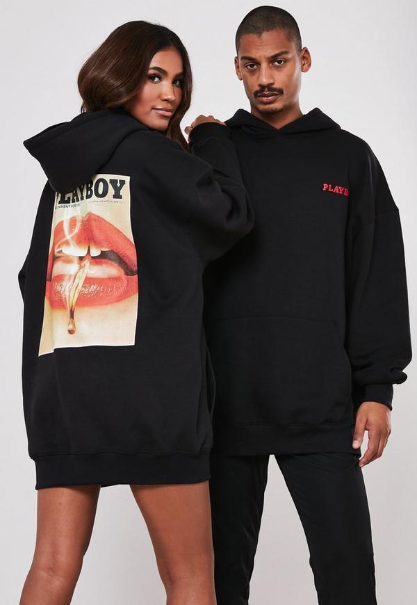 duża zniżka szczegółowe obrazy outlet na sprzedaż Playboy X Missguided Black Magazine Print Oversized Hoodie Dress