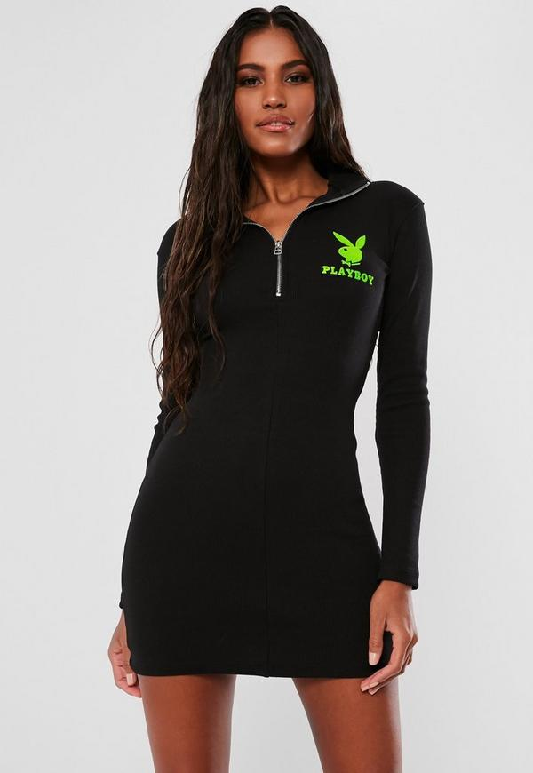 c51f466a Playboy X Missguided Black Zip Front Ribbed Mini Dress   Missguided ...