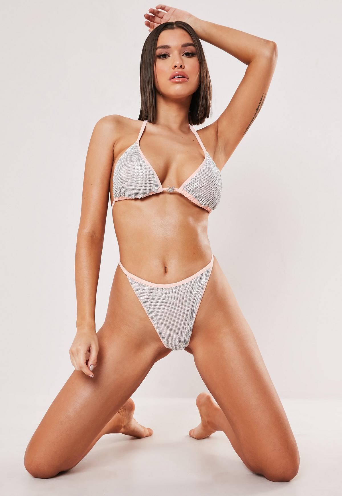 Playboy x Missguided Tanga-Bikinihose mit G-String und ...