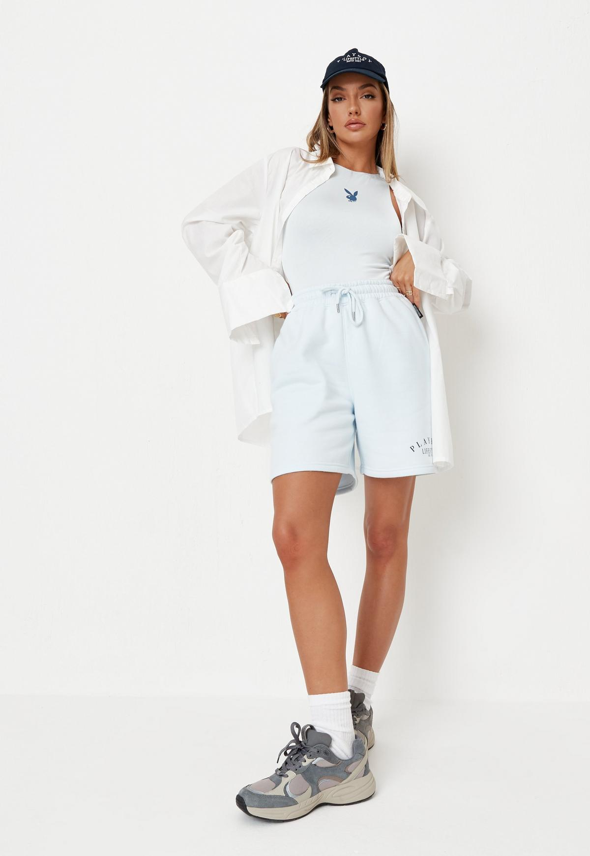 Playboy x Missguided Blue Lifestyle Soft Touch Racer Bodysuit | Missguided