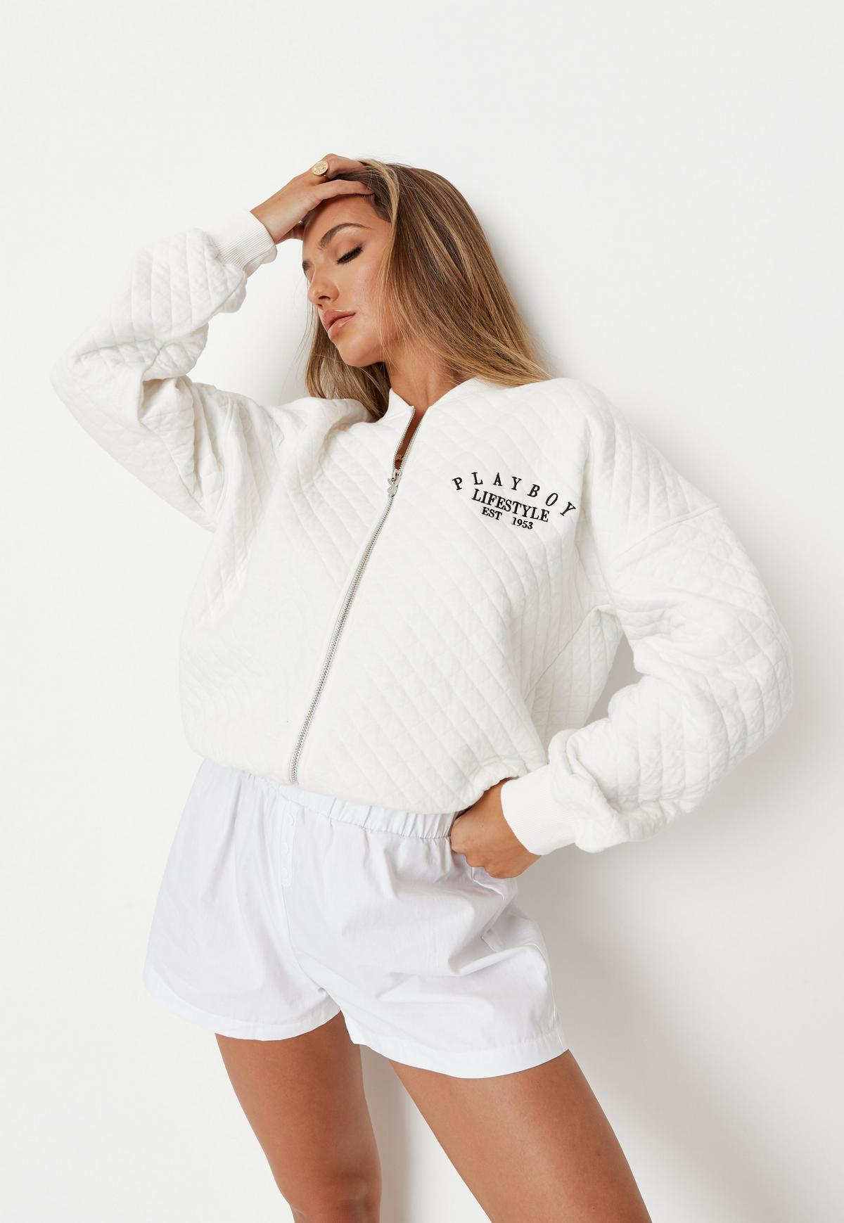Playboy x Missguided White Lifestyle Quilted Bomber Jacket    Missguided