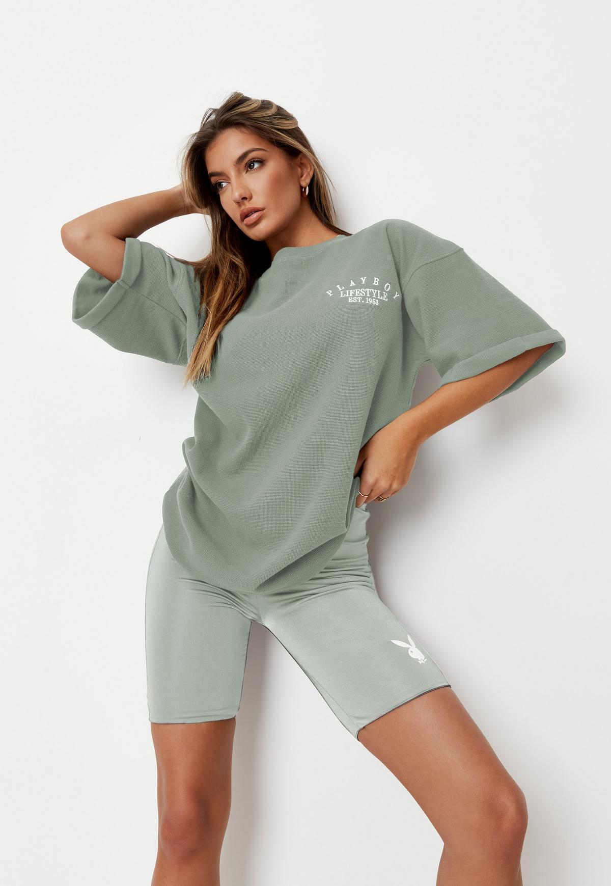 Playboy x Missguided Khaki Lifestyle Waffle Oversized T Shirt    Missguided