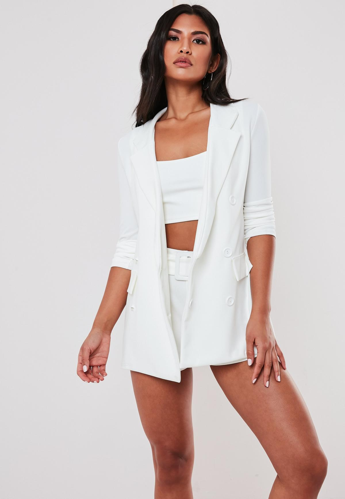White Co Ord Double Breasted Blazer | Missguided