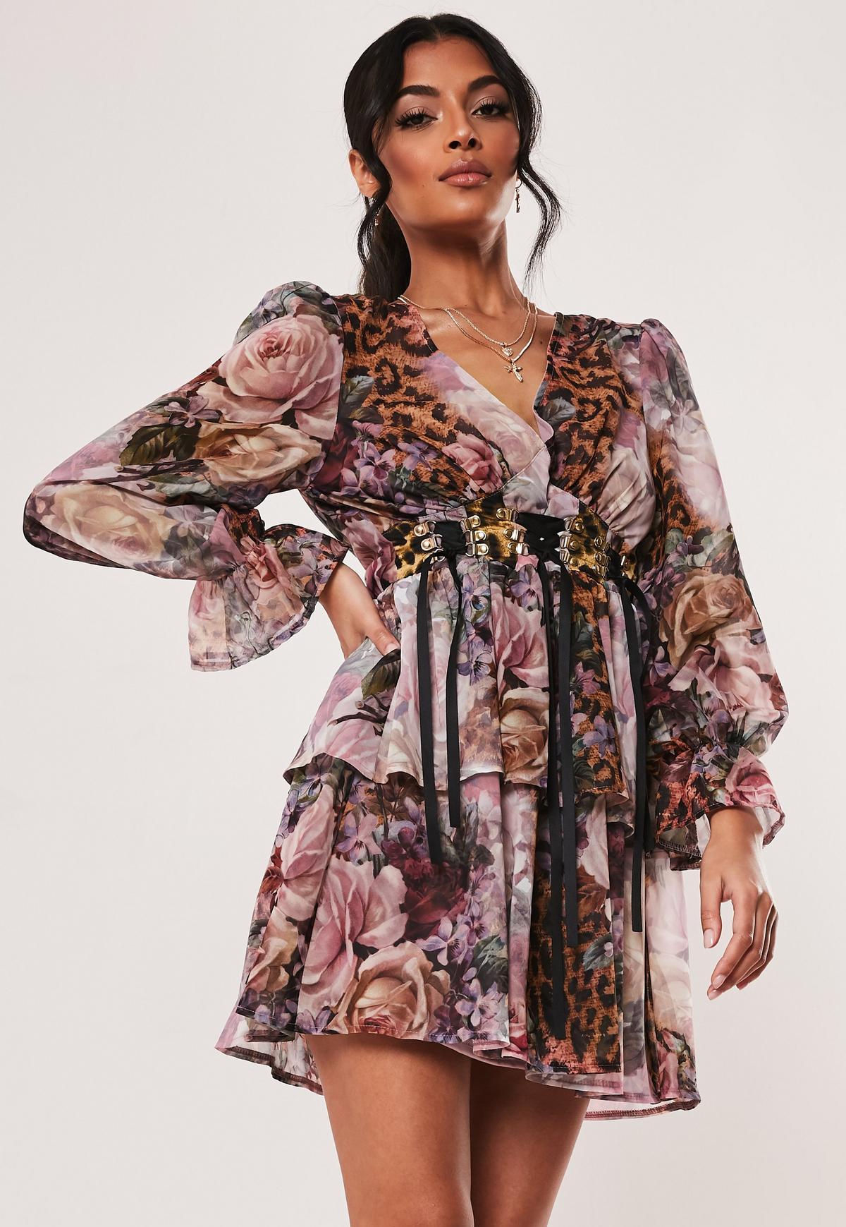 lowest discount outlet boutique sale Pink Floral Leopard Print Tiered Corset Dress | Missguided