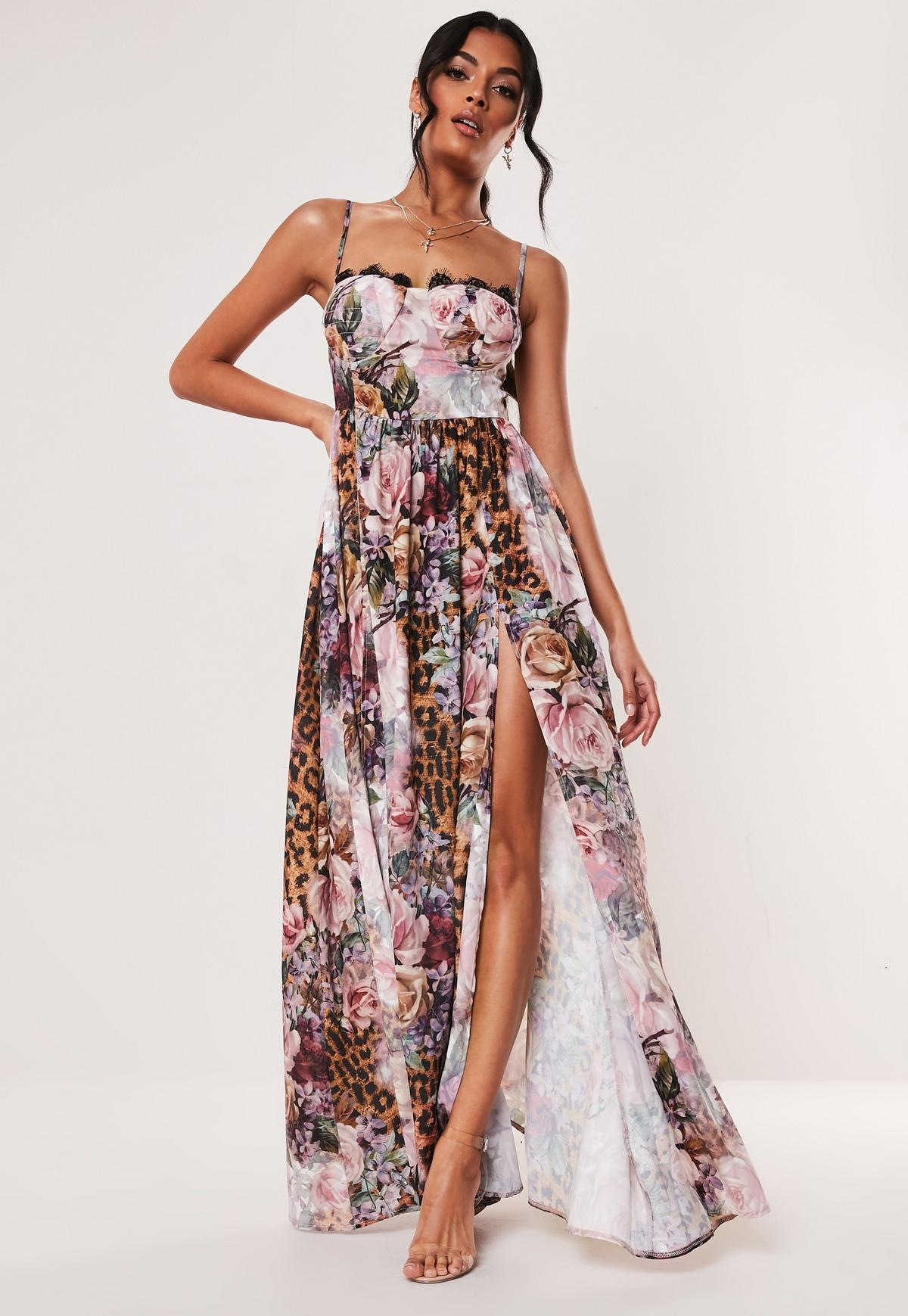 lace up in cheap prices pre order Pink Floral Leopard Print Cupped Maxi Dress | Missguided