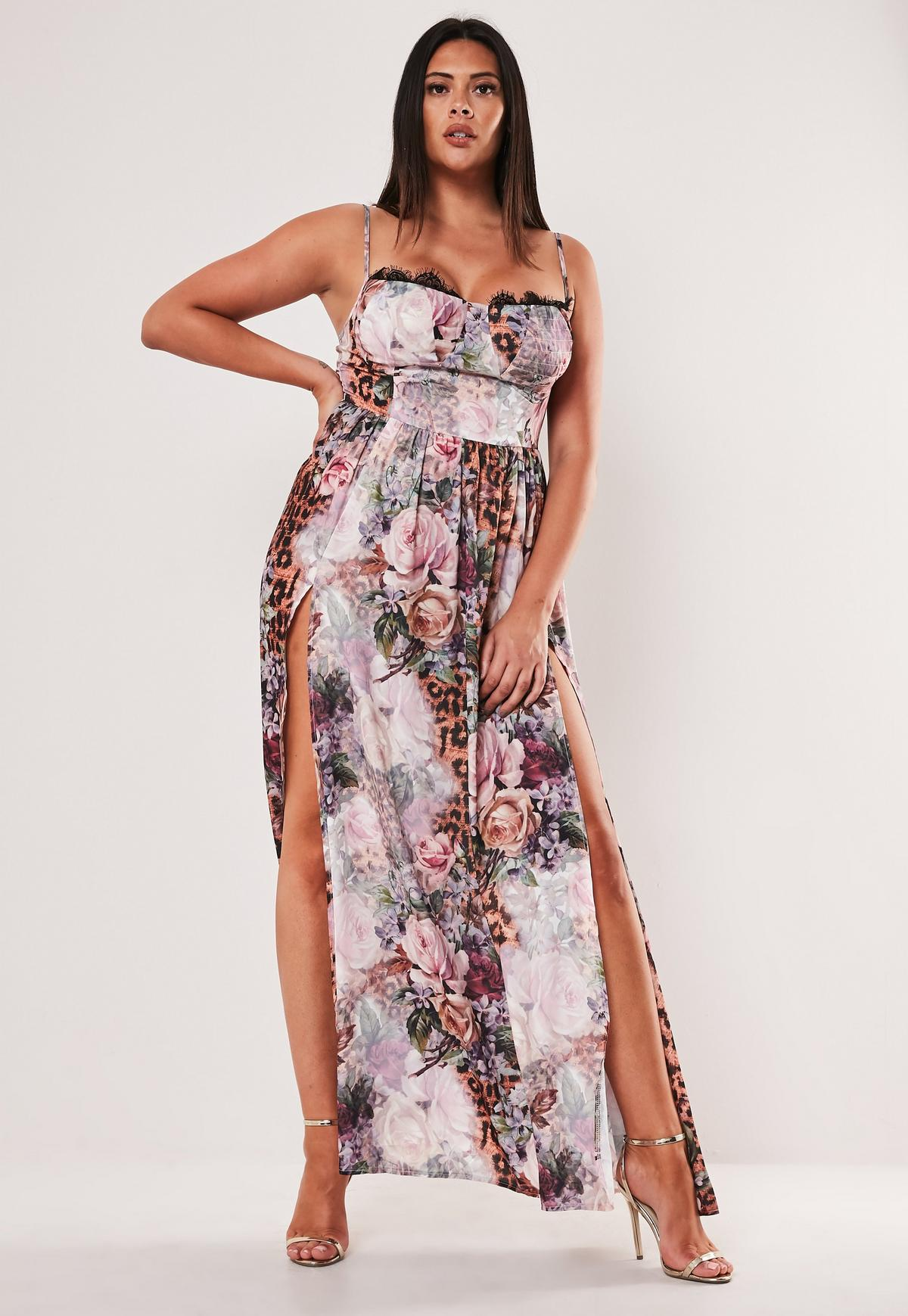 Plus Size Pink Floral Leopard Print Cupped Maxi Dress