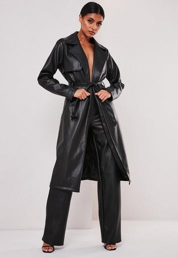 Black Faux Leather Trench Coat Missguided, Womens Faux Leather Trench Coat Uk