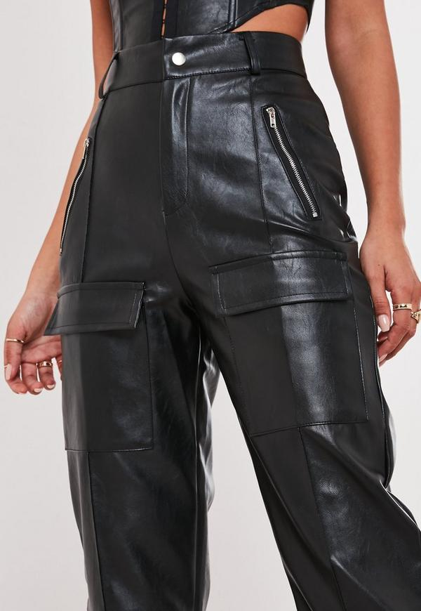 fair price super cheap rational construction Jordan Lipscombe x Missguided Black Faux Leather High Waisted Utility  Trousers