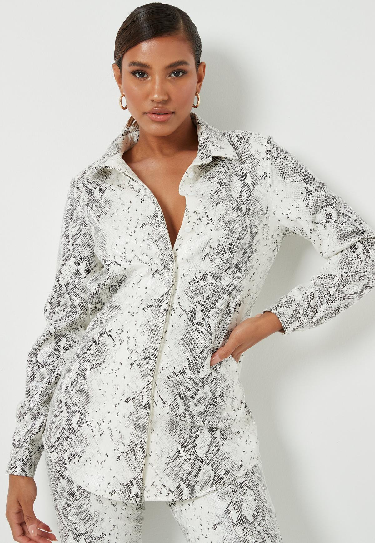 Image result for missguided white faux leather snake print oversized shirt