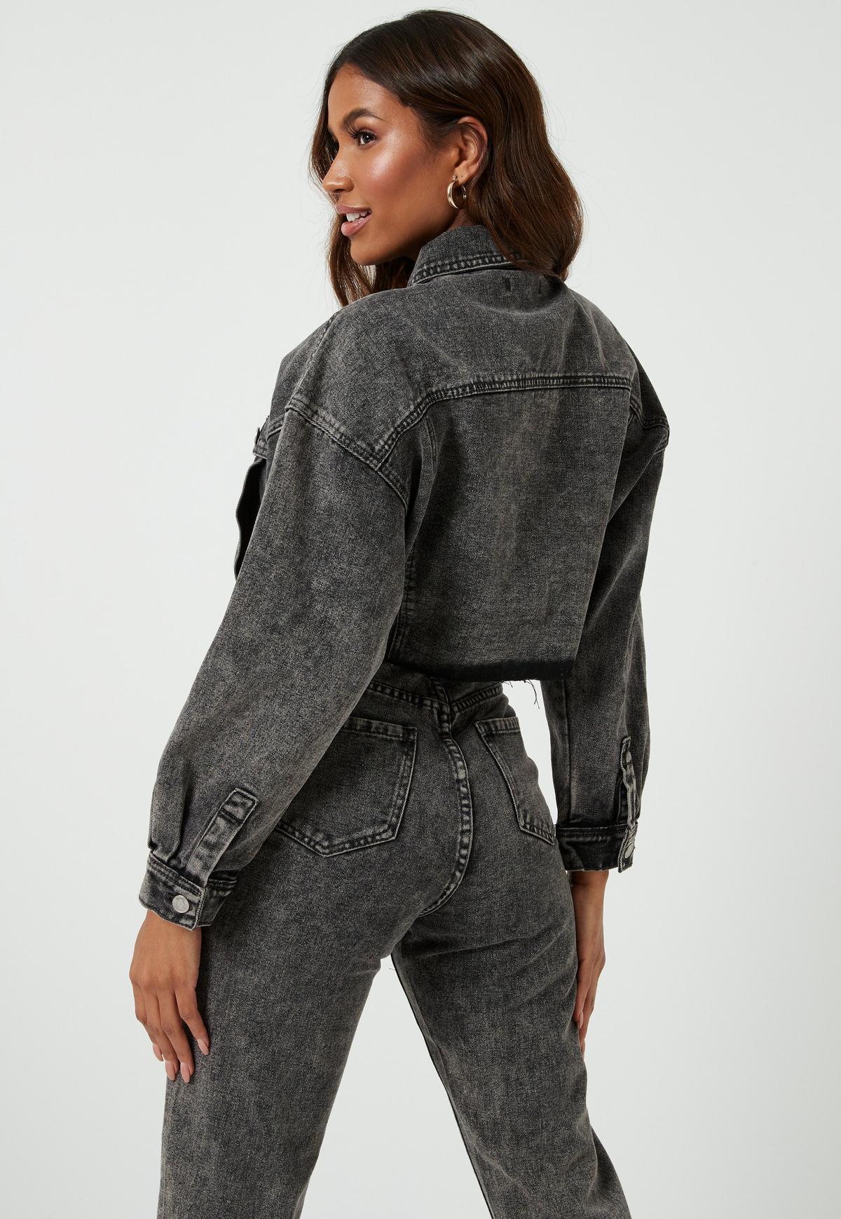 Gray Co Ord Raw Hem Cropped Denim Jacket | Missguided