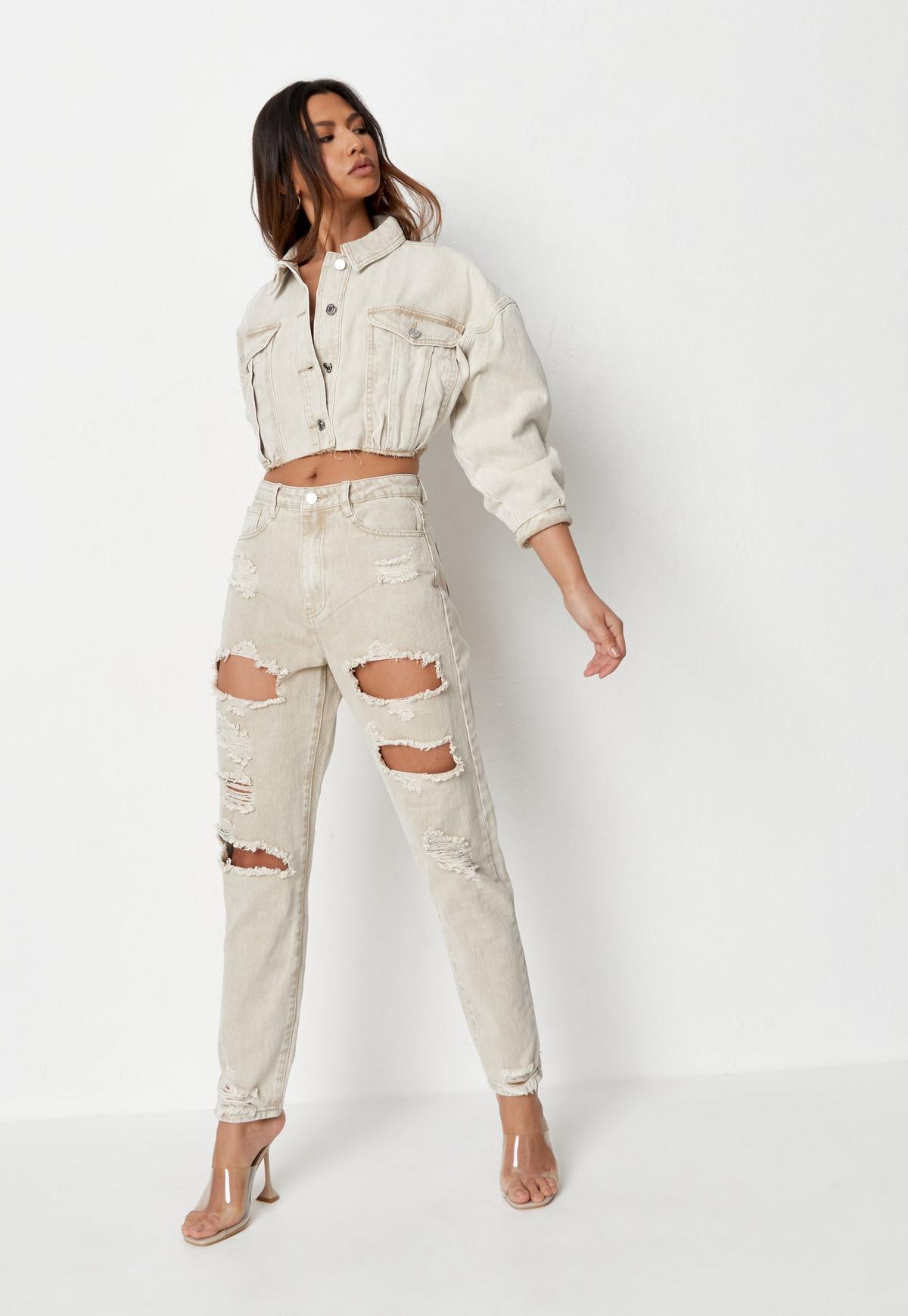 Veste en jean sable courte à ourlet brut