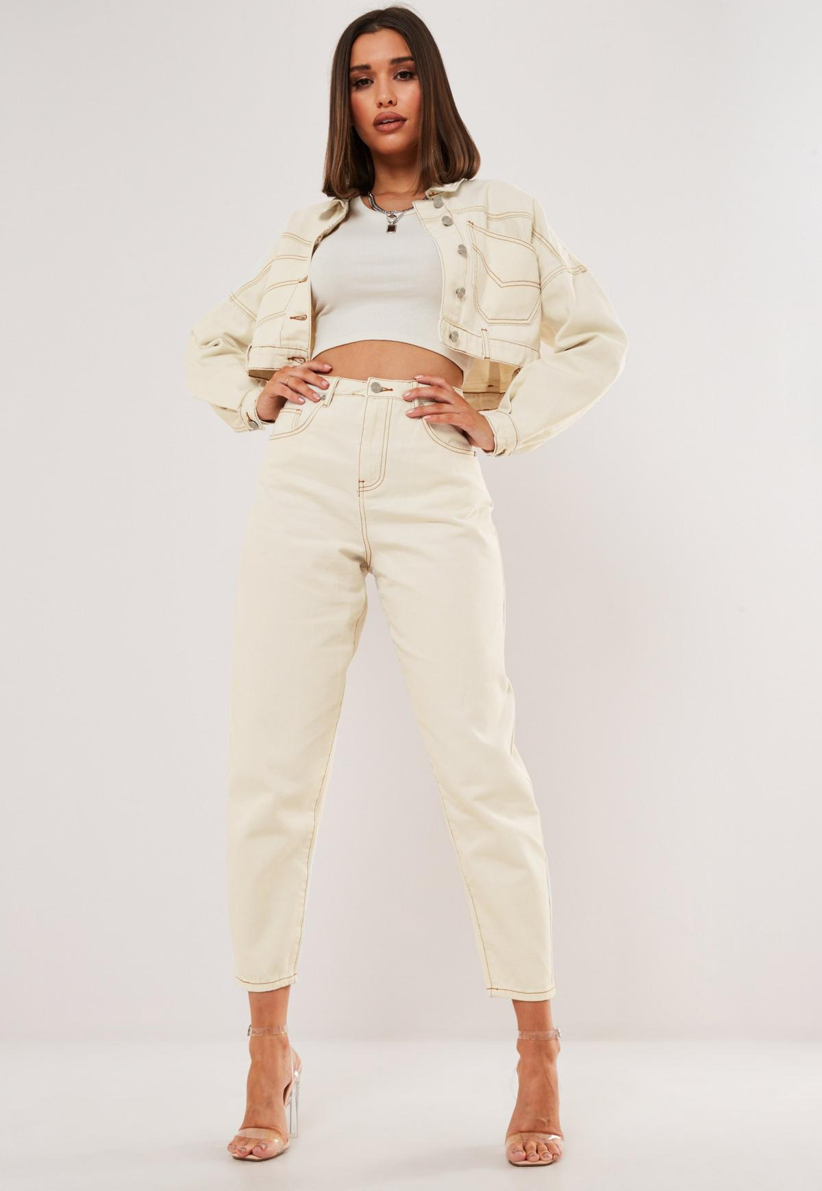 Kremowa krótka kurtka jeansowa z kontrastowymi przeszyciami – dostępna w zestawie