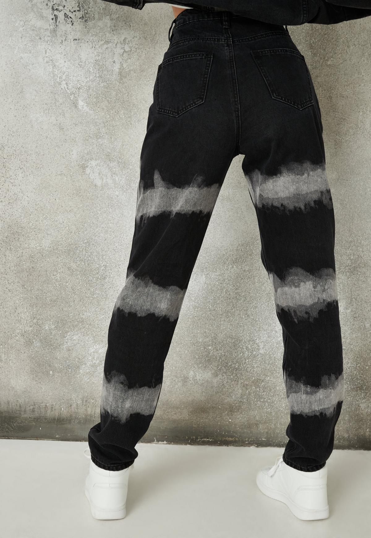 Black Co Ord Tie Dye Mom Jeans | Missguided