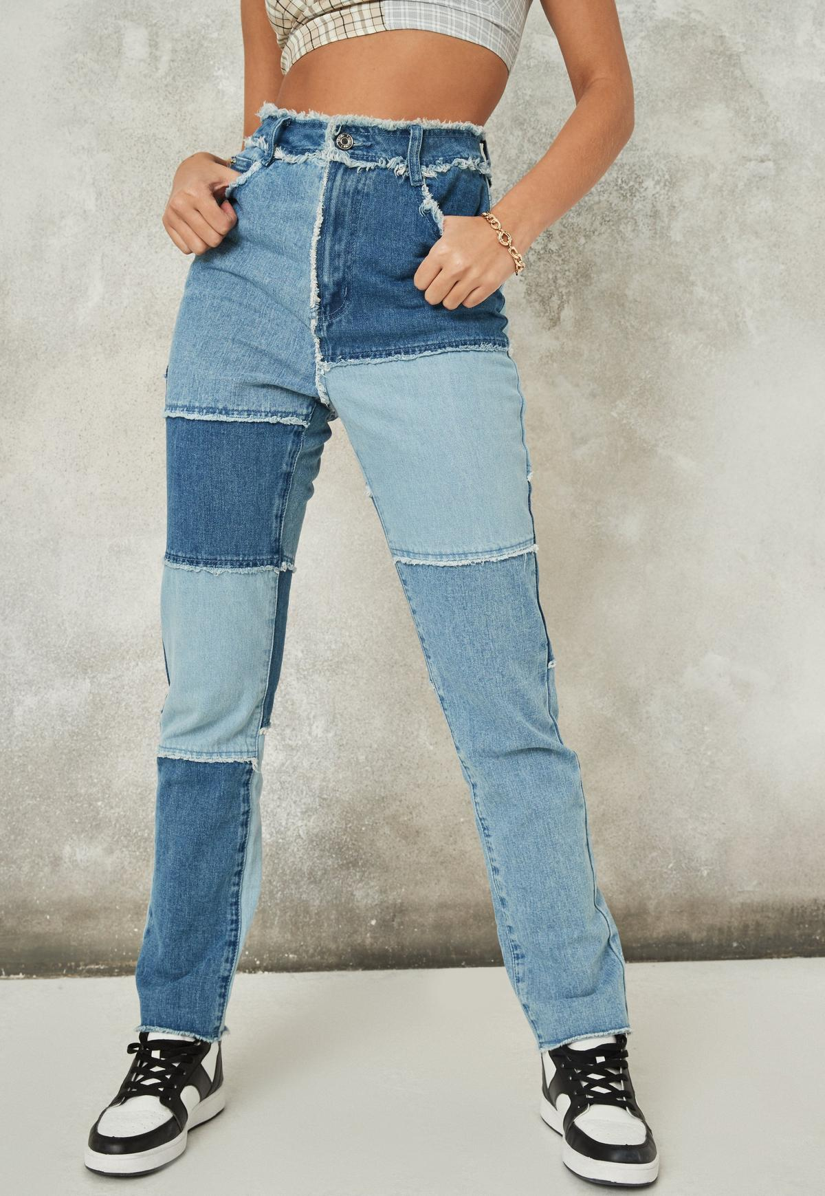 Blue Co Ord Fray Detail Patchwork Straight Leg Jeans   Missguided