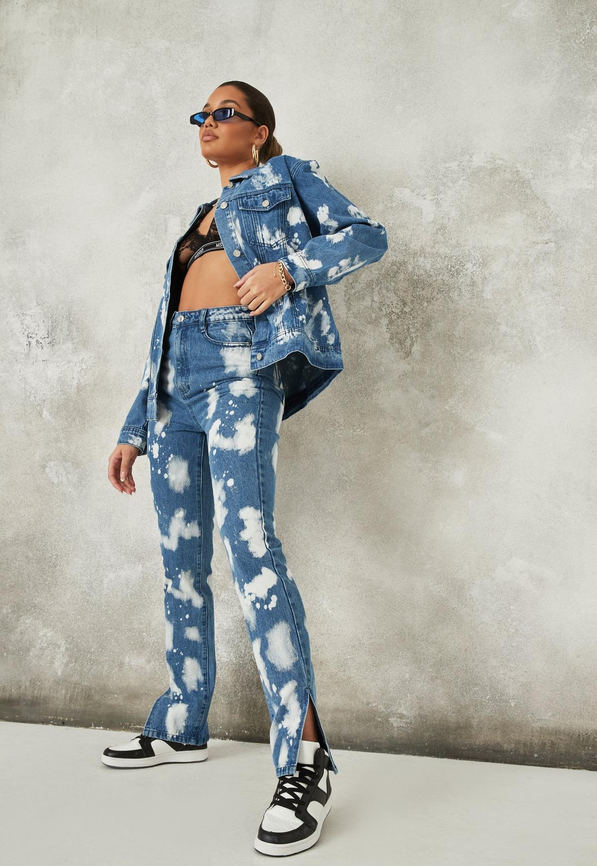 Blue Co Ord Wrath Bleach Splatter Jeans   Missguided