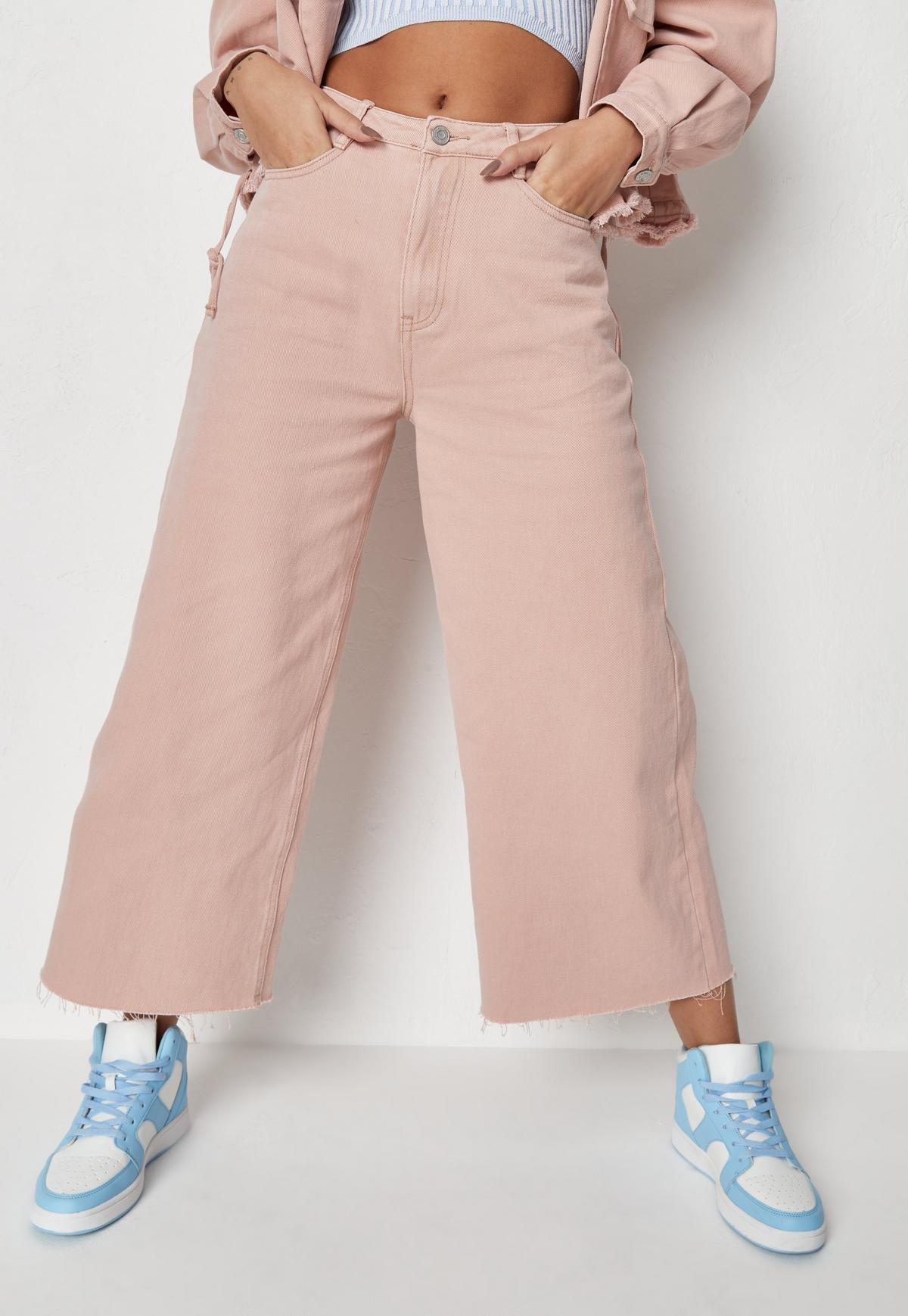Peach Co Cord Cropped Raw Hem Wide Leg Jeans | Missguided