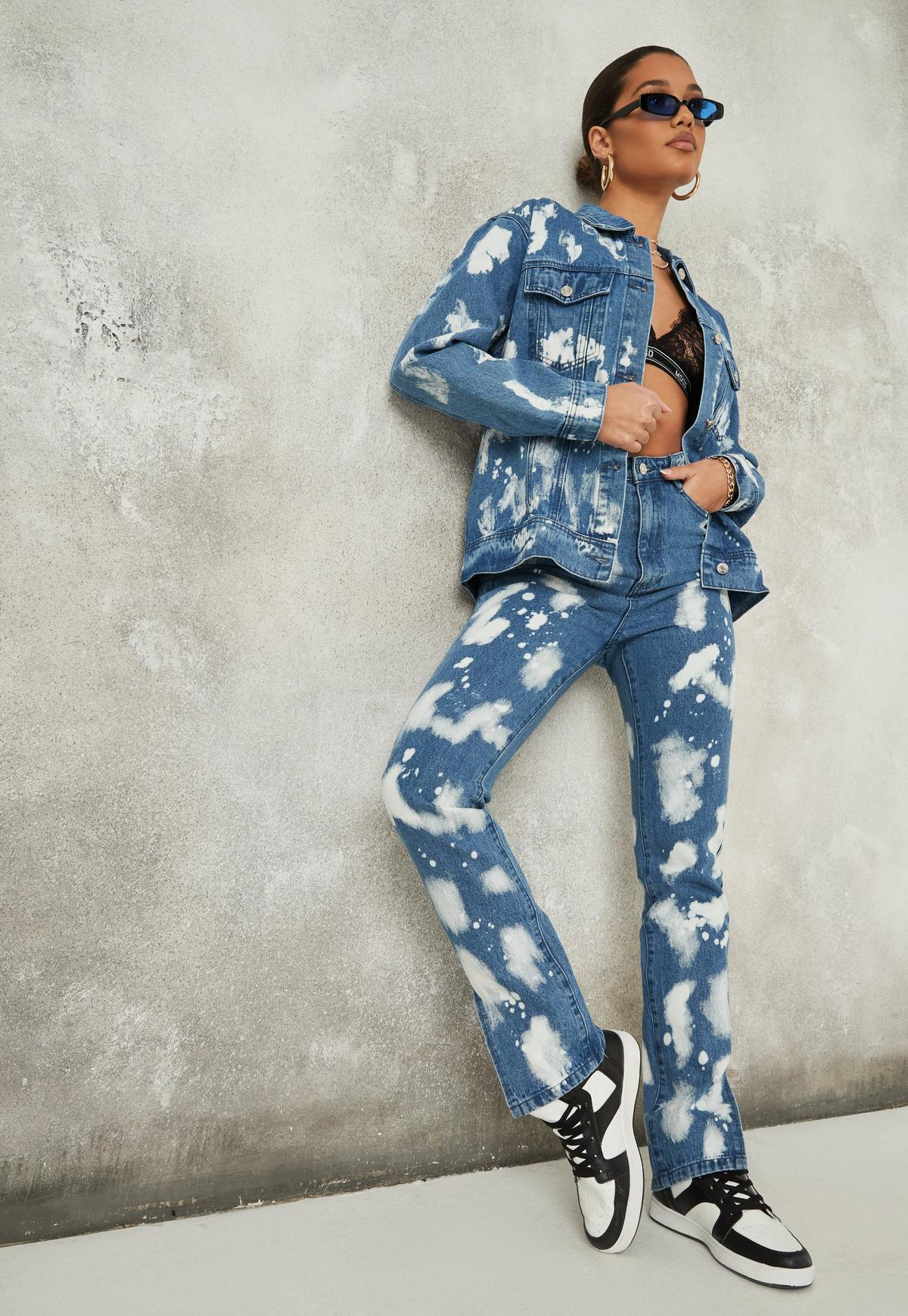 Blue Co Ord Bleach Splatter Denim Jacket | Missguided