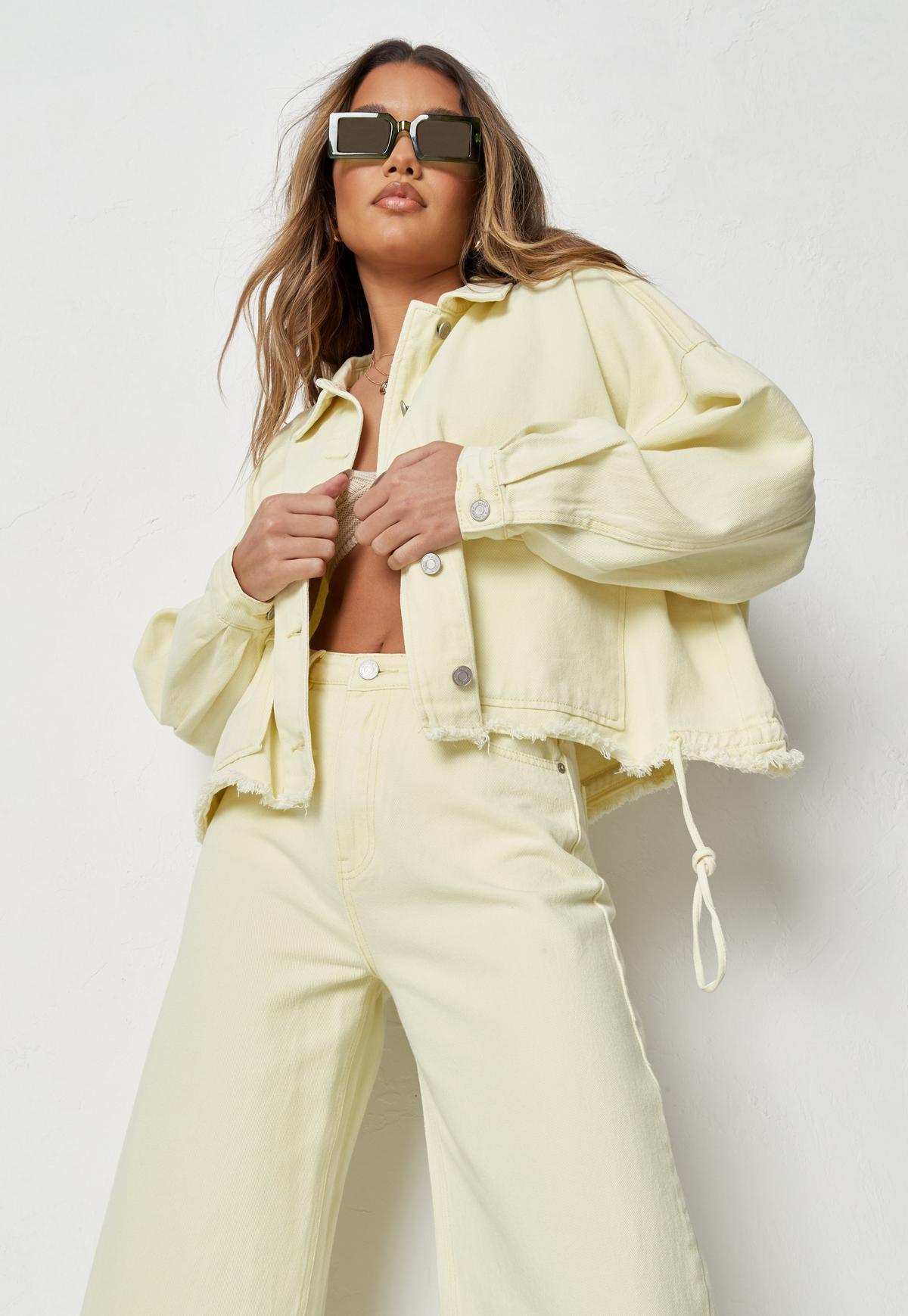 Lemon Co Ord Drop Shoulder Oversized Denim Shirt   Missguided