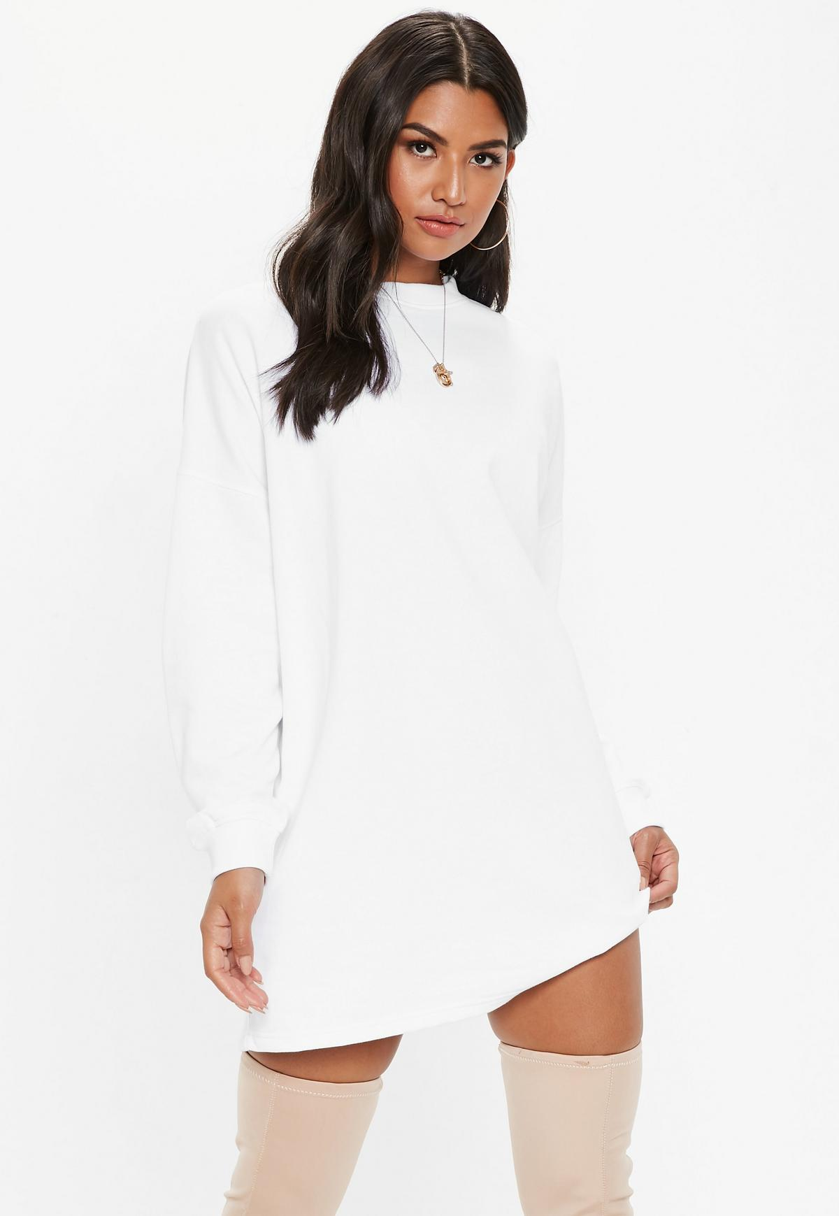 white oversized basic loopback sweater dress