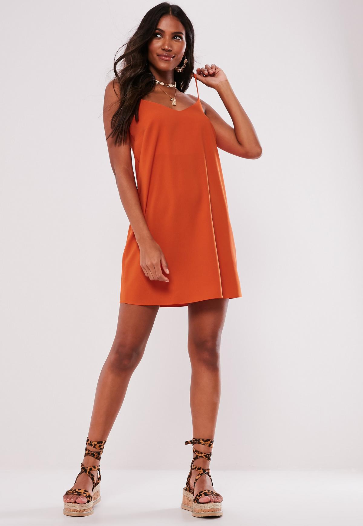 Tall Orange Crepe Slip Dress Missguided