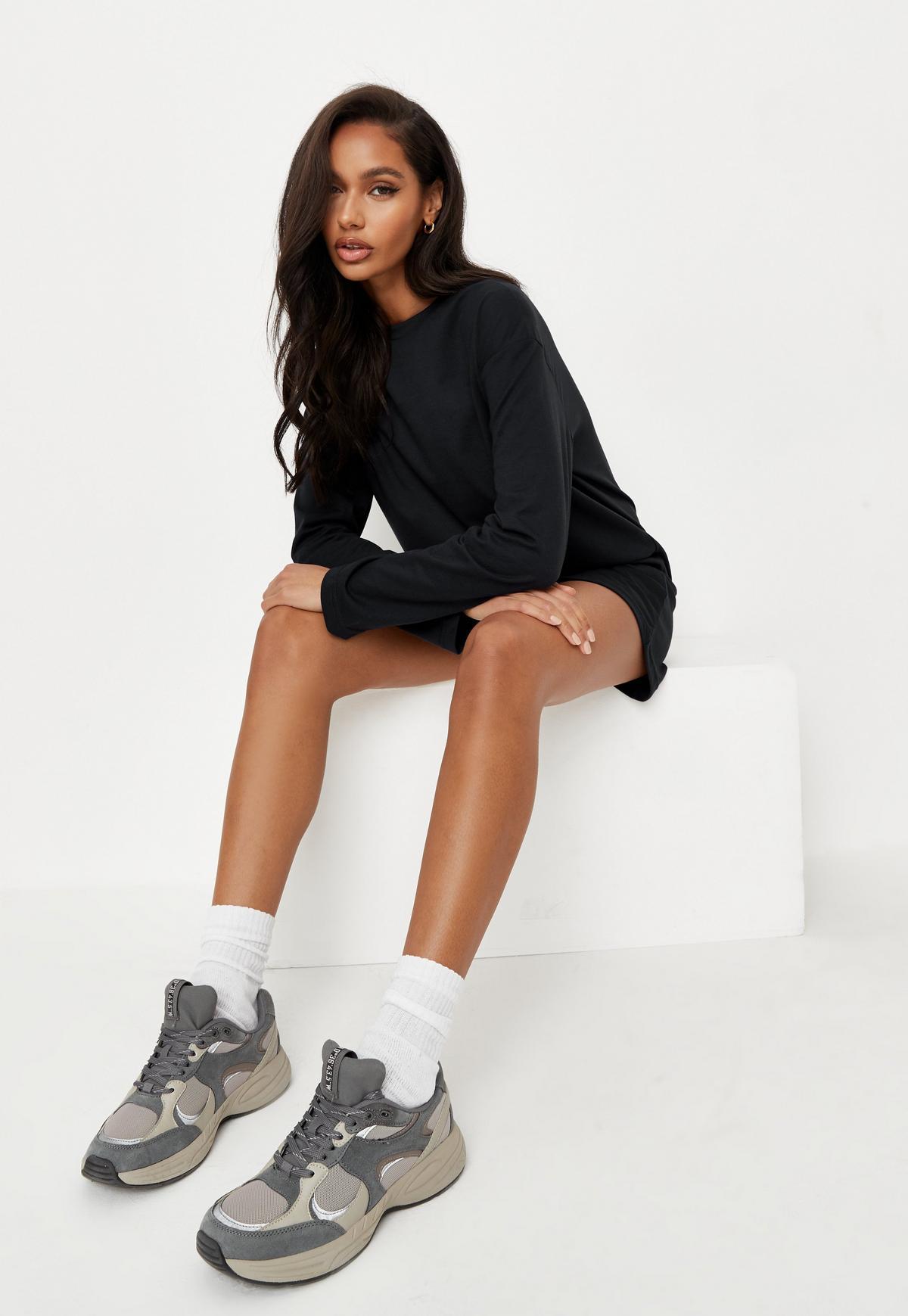 Black Basic Long Sleeve T Shirt Dress