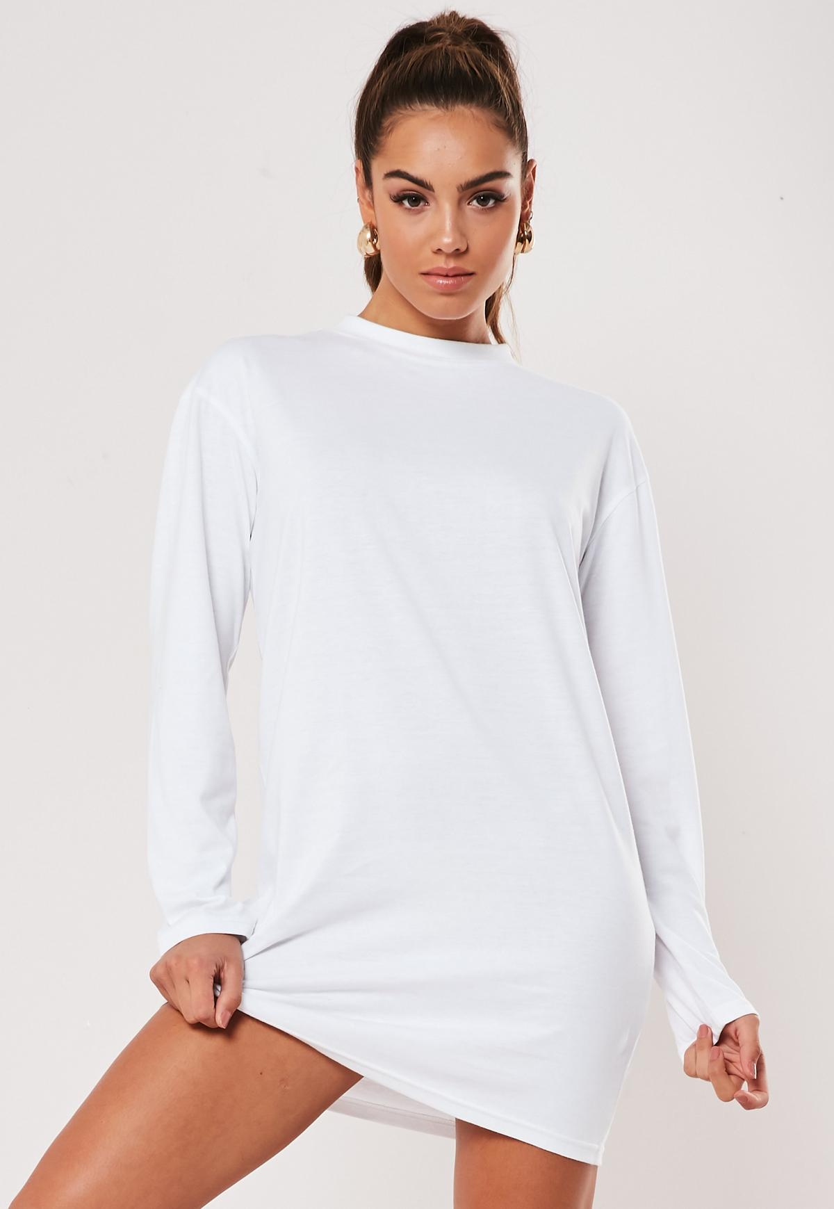White Basic Long Sleeve T Shirt Dress