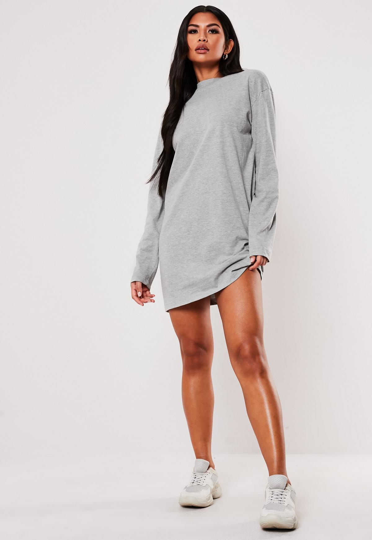Gray Long Sleeve T-Shirt Dress