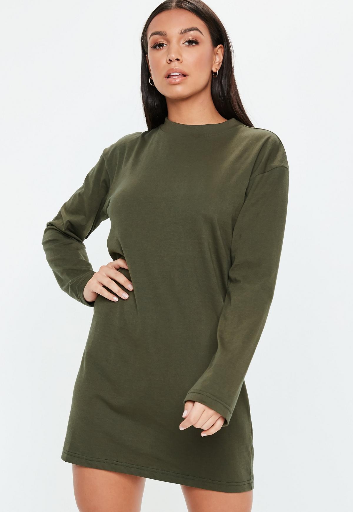 Khaki Basic Long Sleeve T Shirt Dress