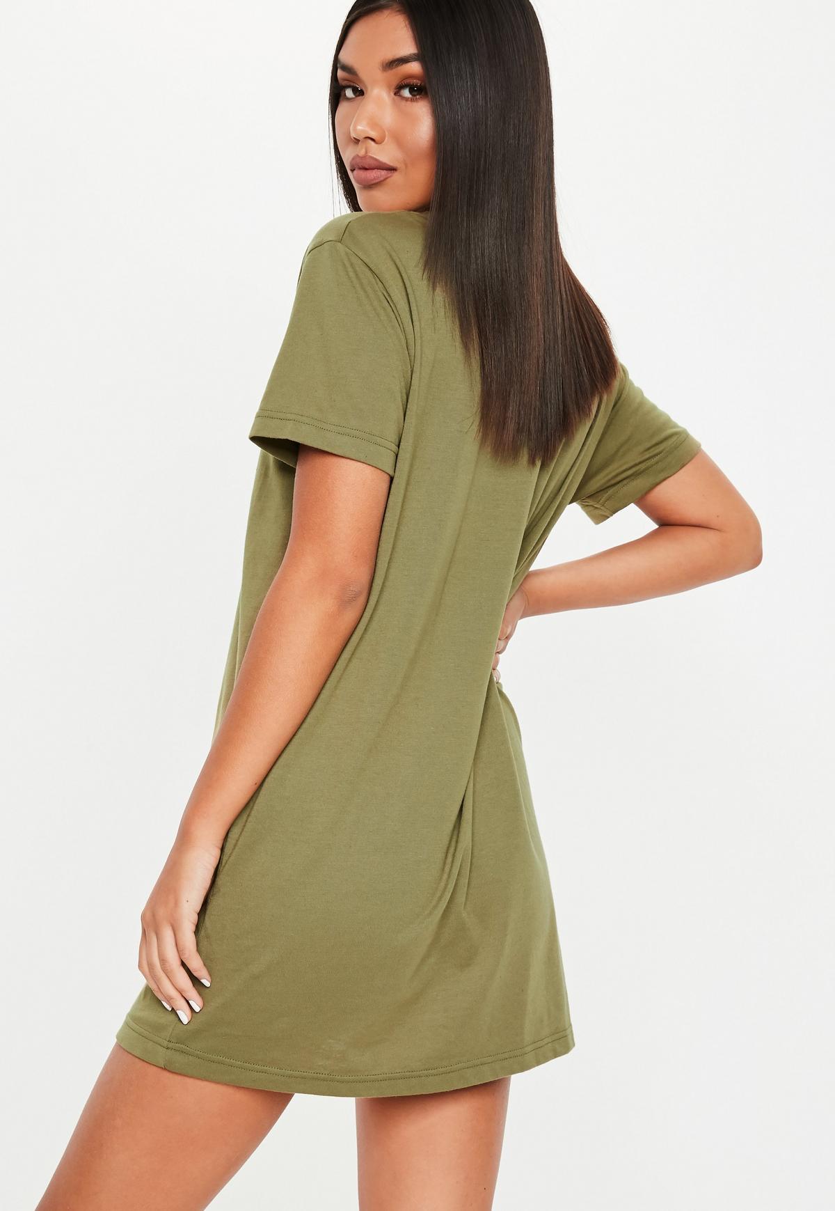 Robe T Shirt Vert Kaki Basique Missguided