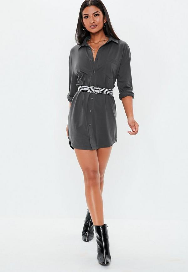official photos famous designer brand largest selection of Grey Oversized Jersey Shirt Dress