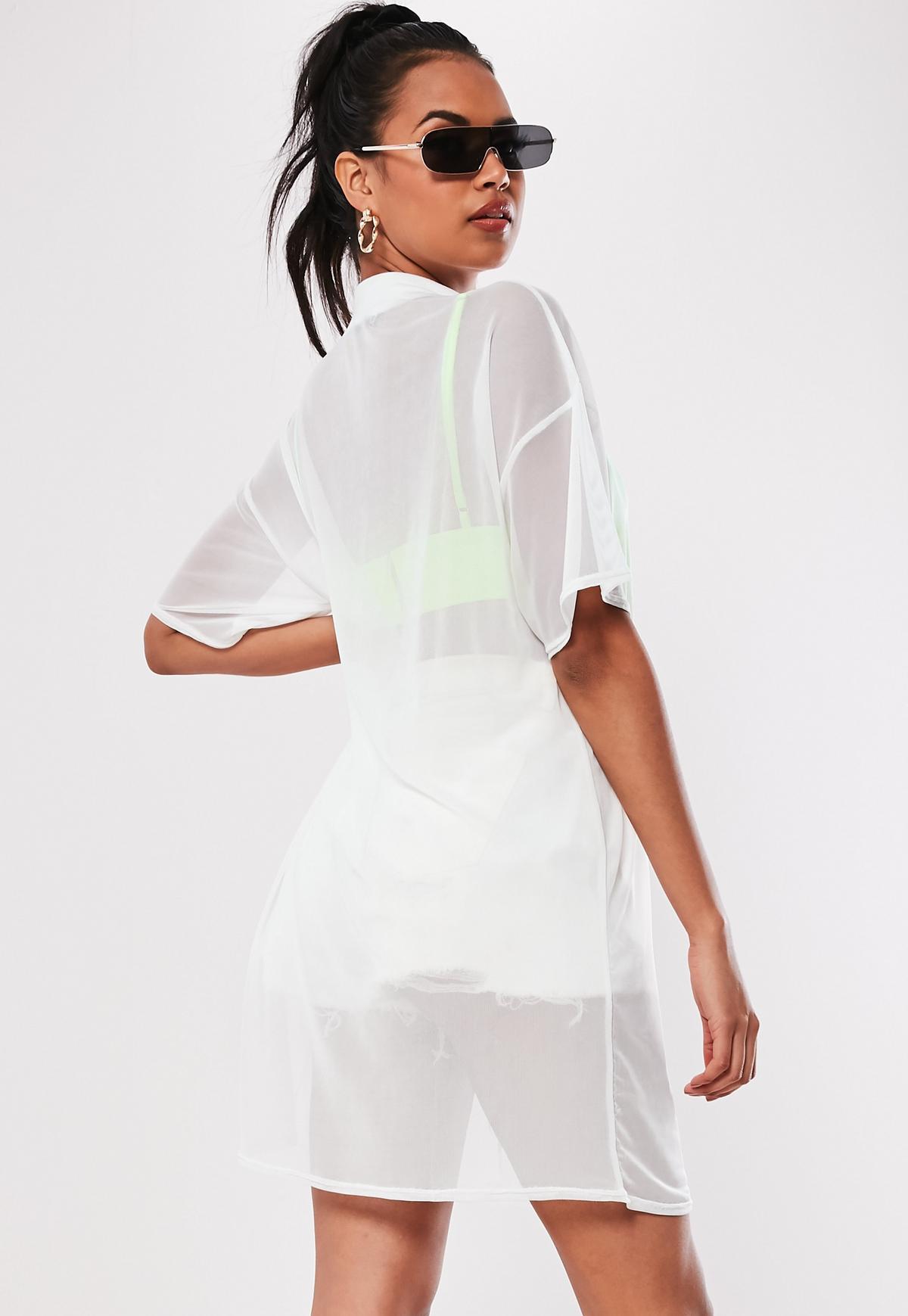 Oversize-T-Shirt-Kleid aus Netzstoff in Weiß   Missguided