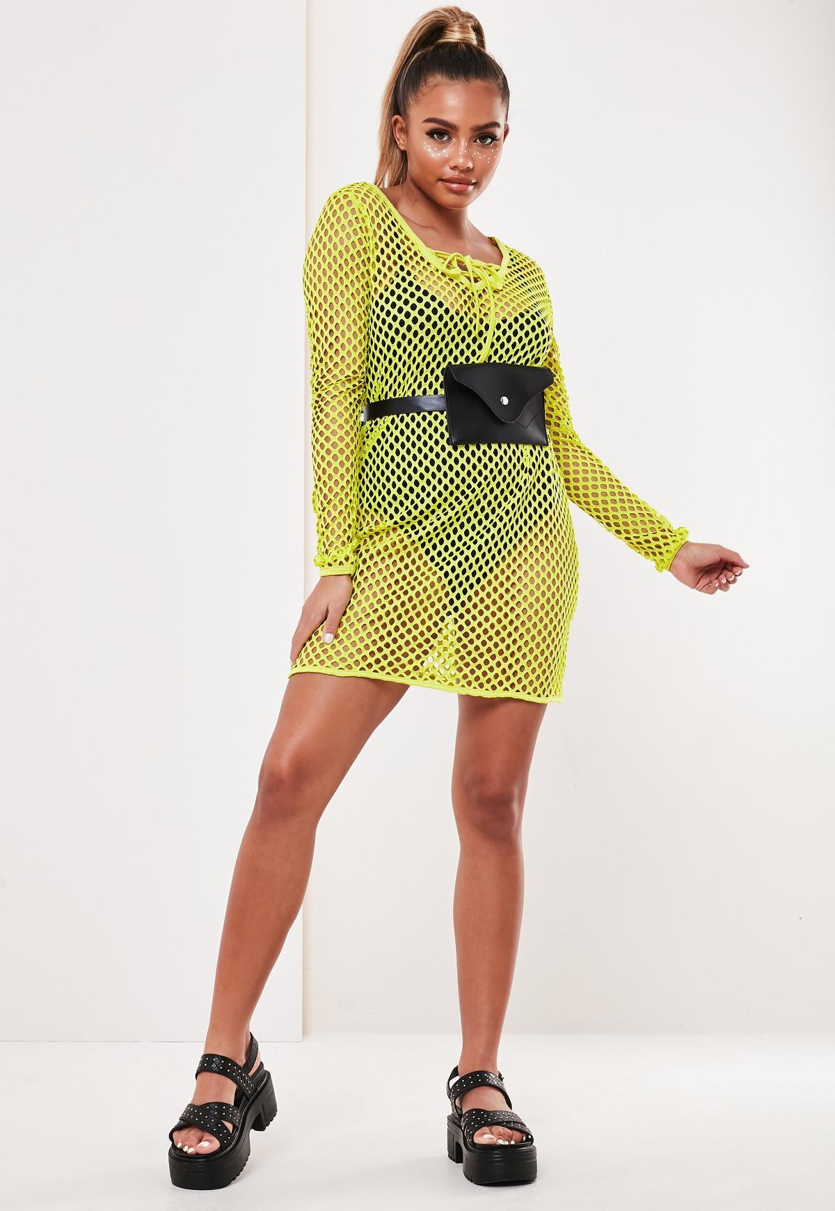 T Shirt Kleid Aus Netzstoff Mit Schnurung In Neon Gelb Missguided