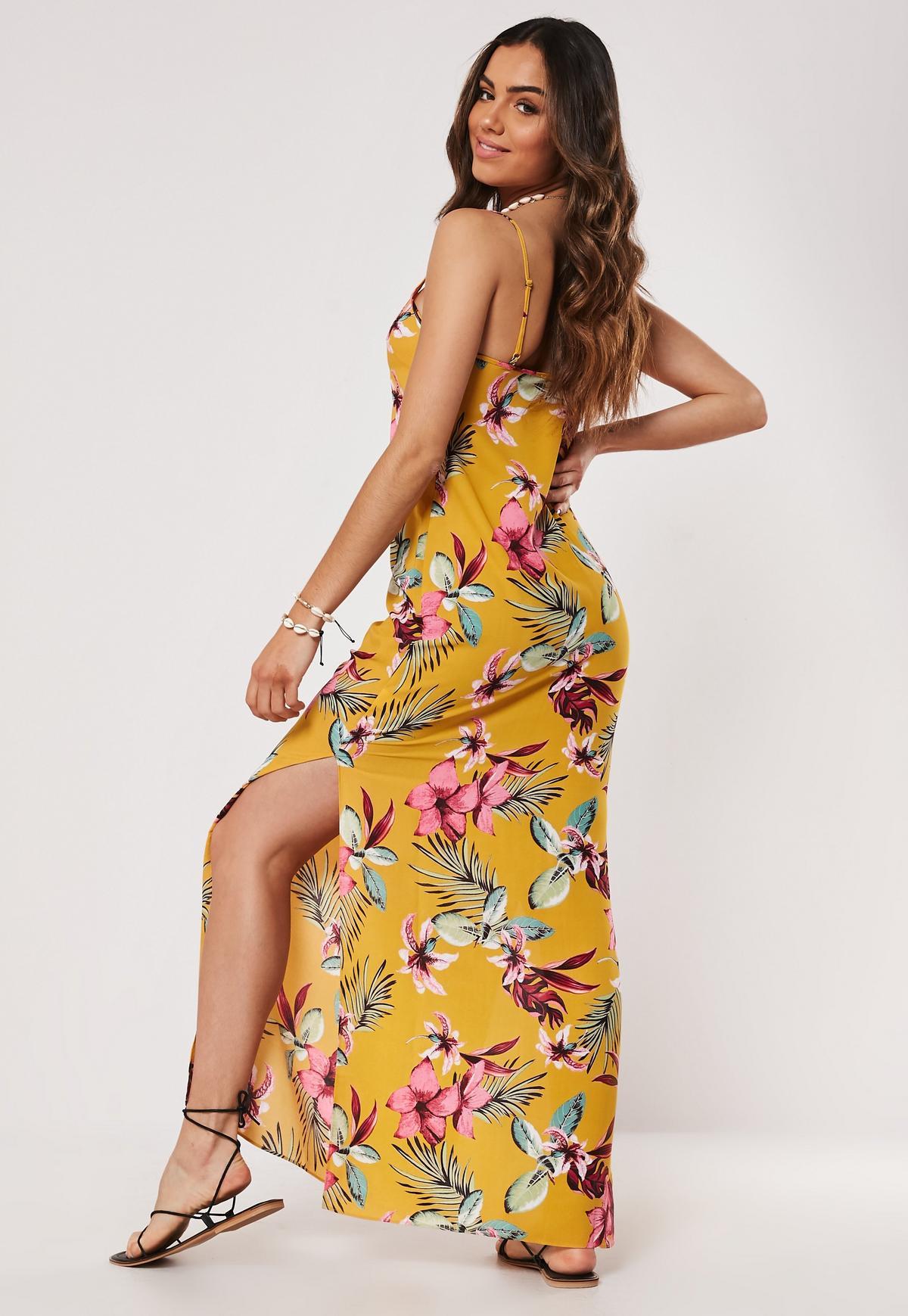 yellow floral strappy side split maxi dress