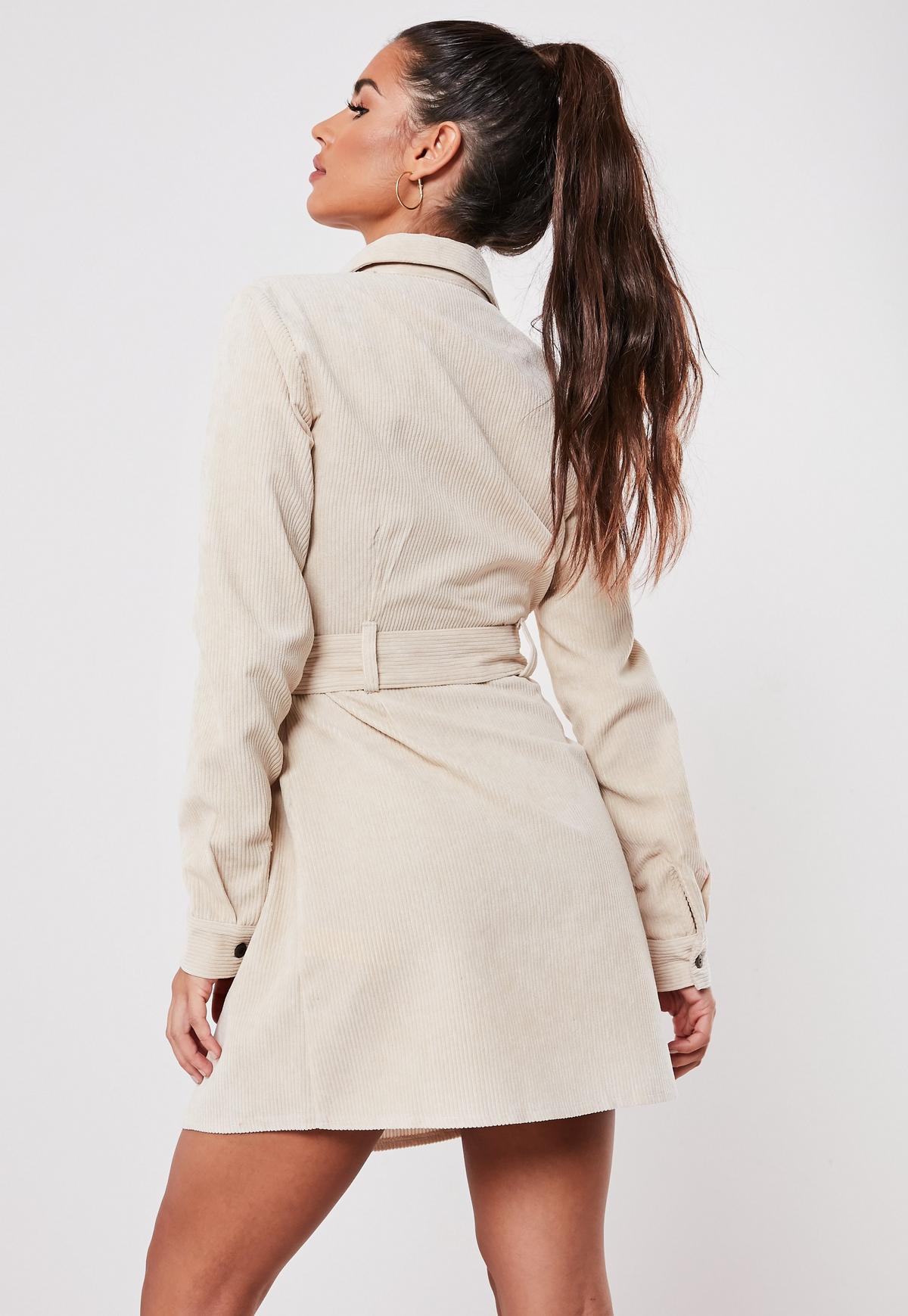 Plus Size Stone Belted Cord Shirt Dress