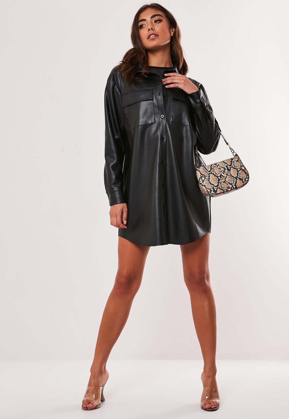 Black Faux Leather Oversized Shirt Dress