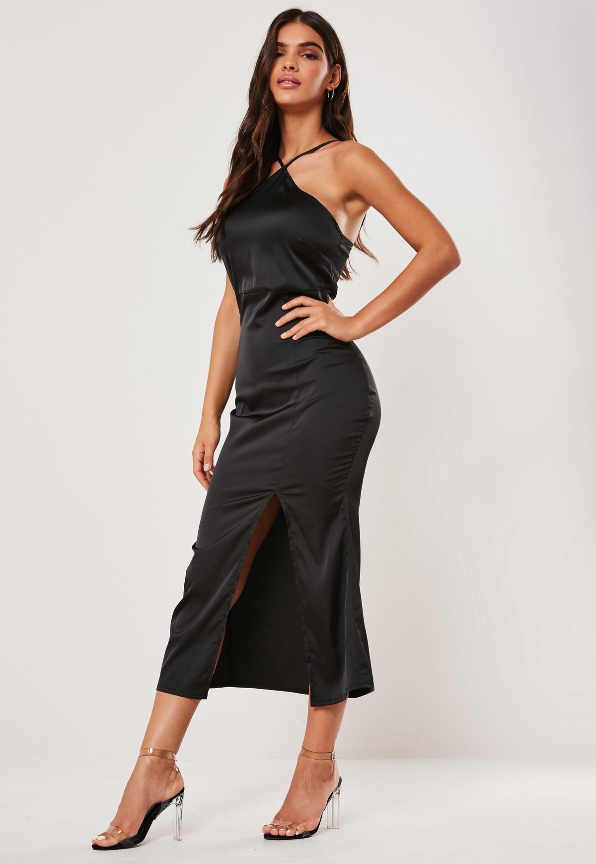 Black Satin Halter Neck Midi Dress Missguided Australia