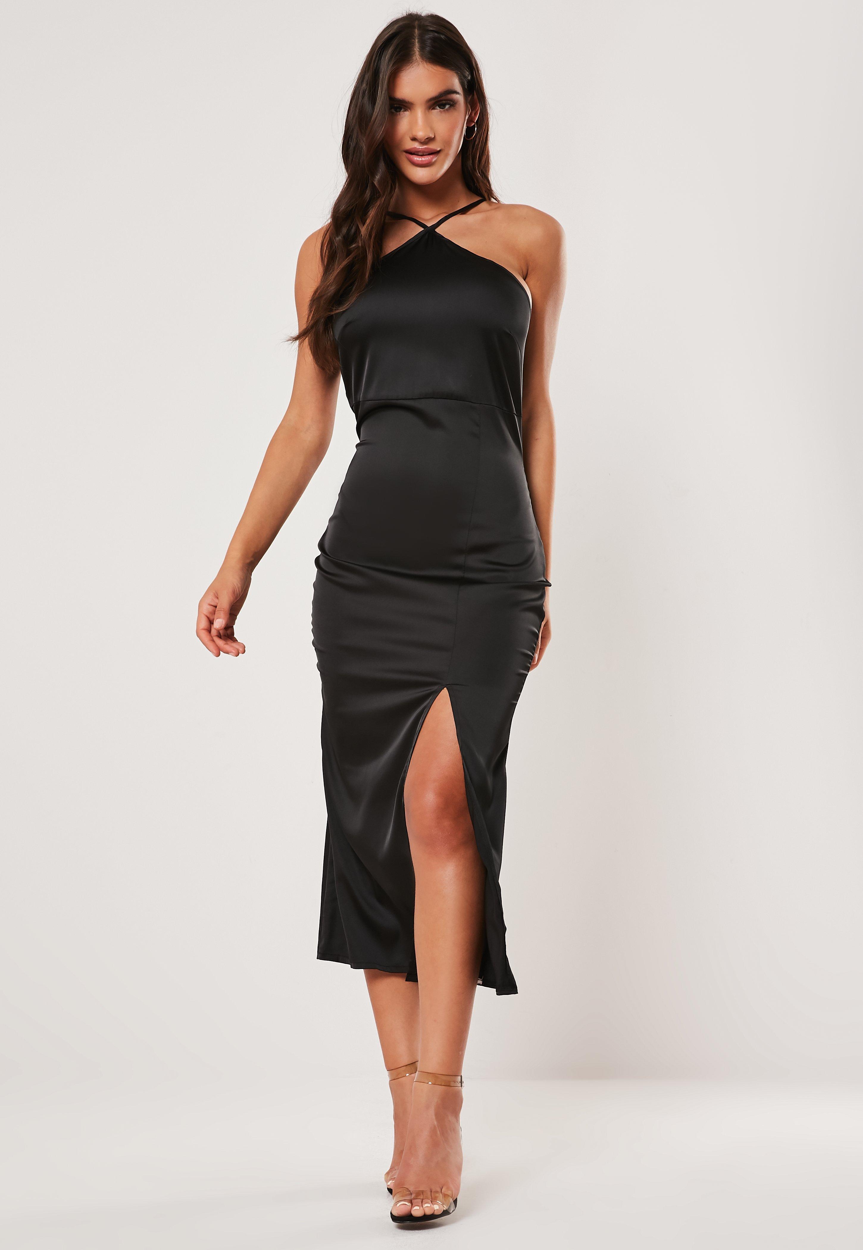 Black Satin Halter Neck Midi Dress