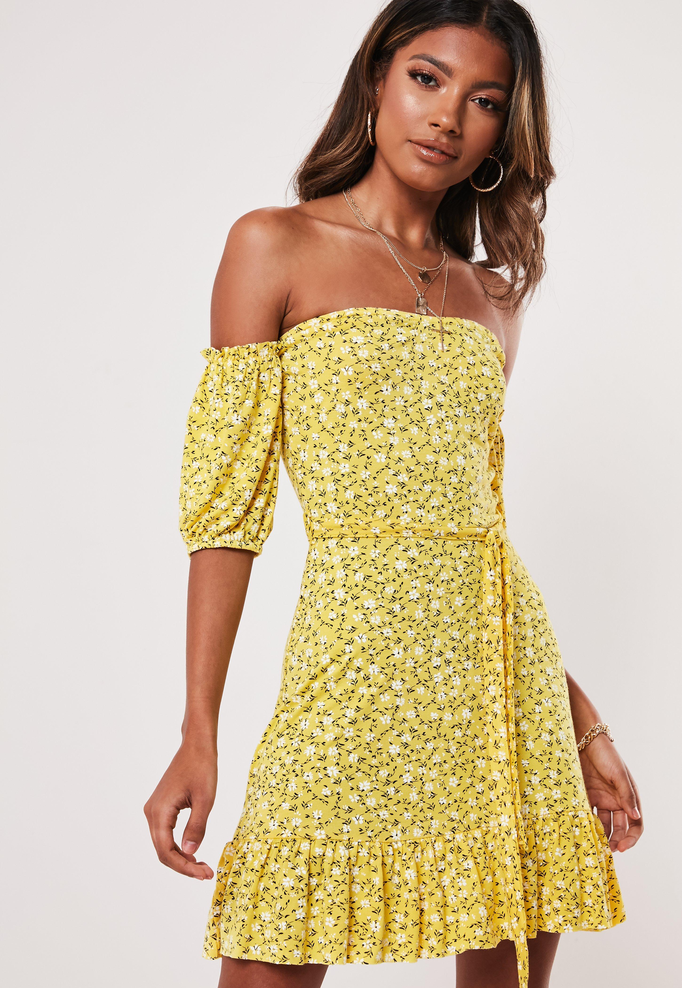 Yellow Ditsy Floral Bardot Skater Dress