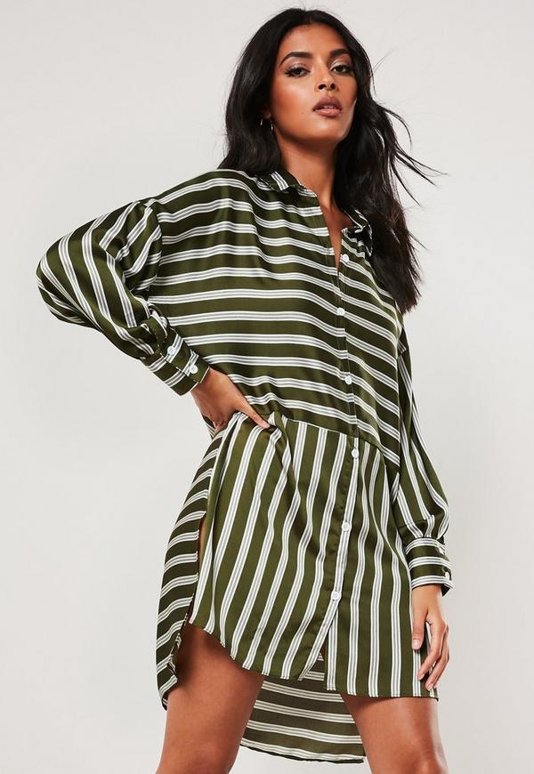 fdd0d6abee3eb Green Oversized Stripe Print Dip Back Shirt Dress