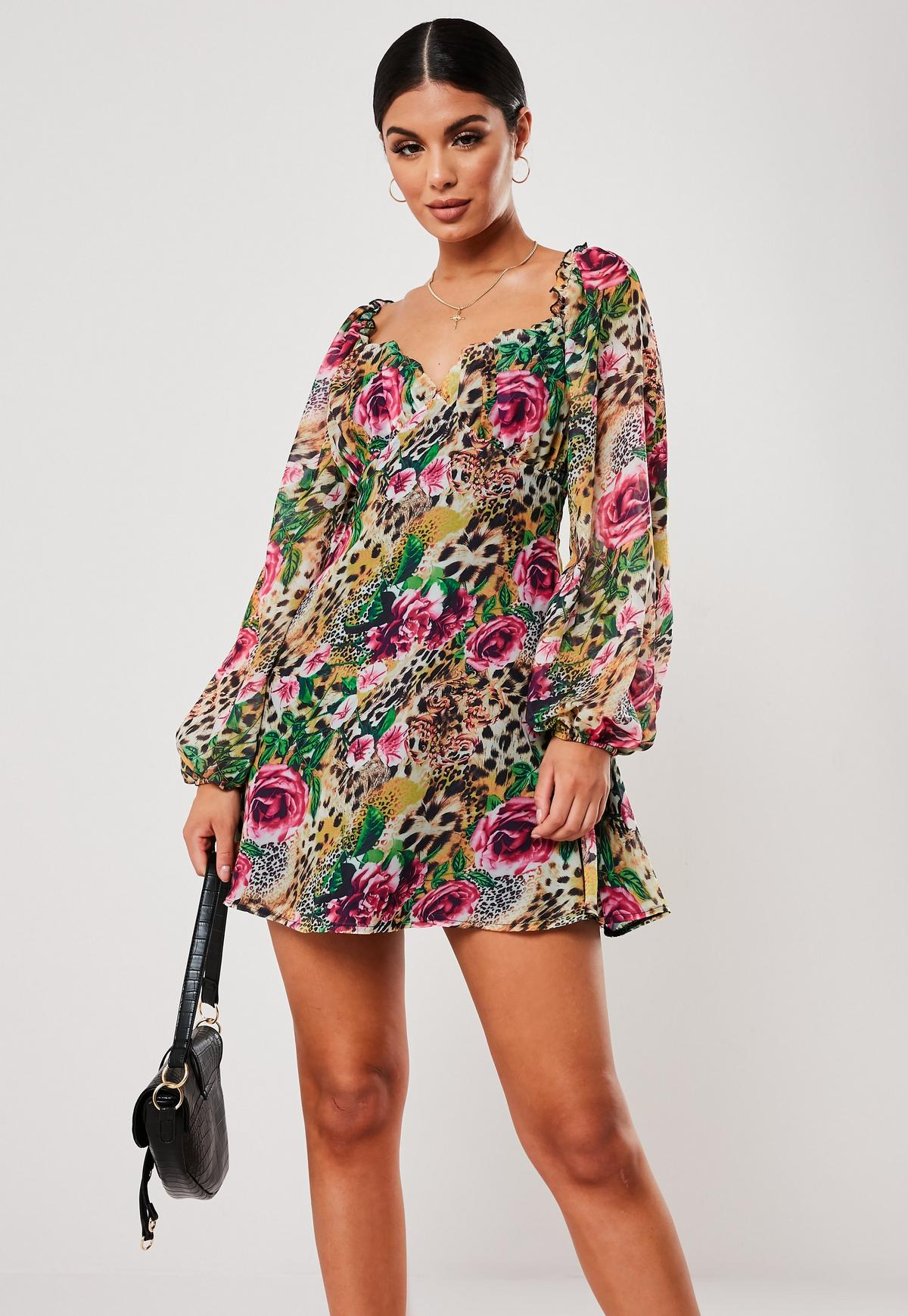 classic cozy fresh reputable site Pink Floral Leopard Print Milkmaid Skater Dress | Missguided
