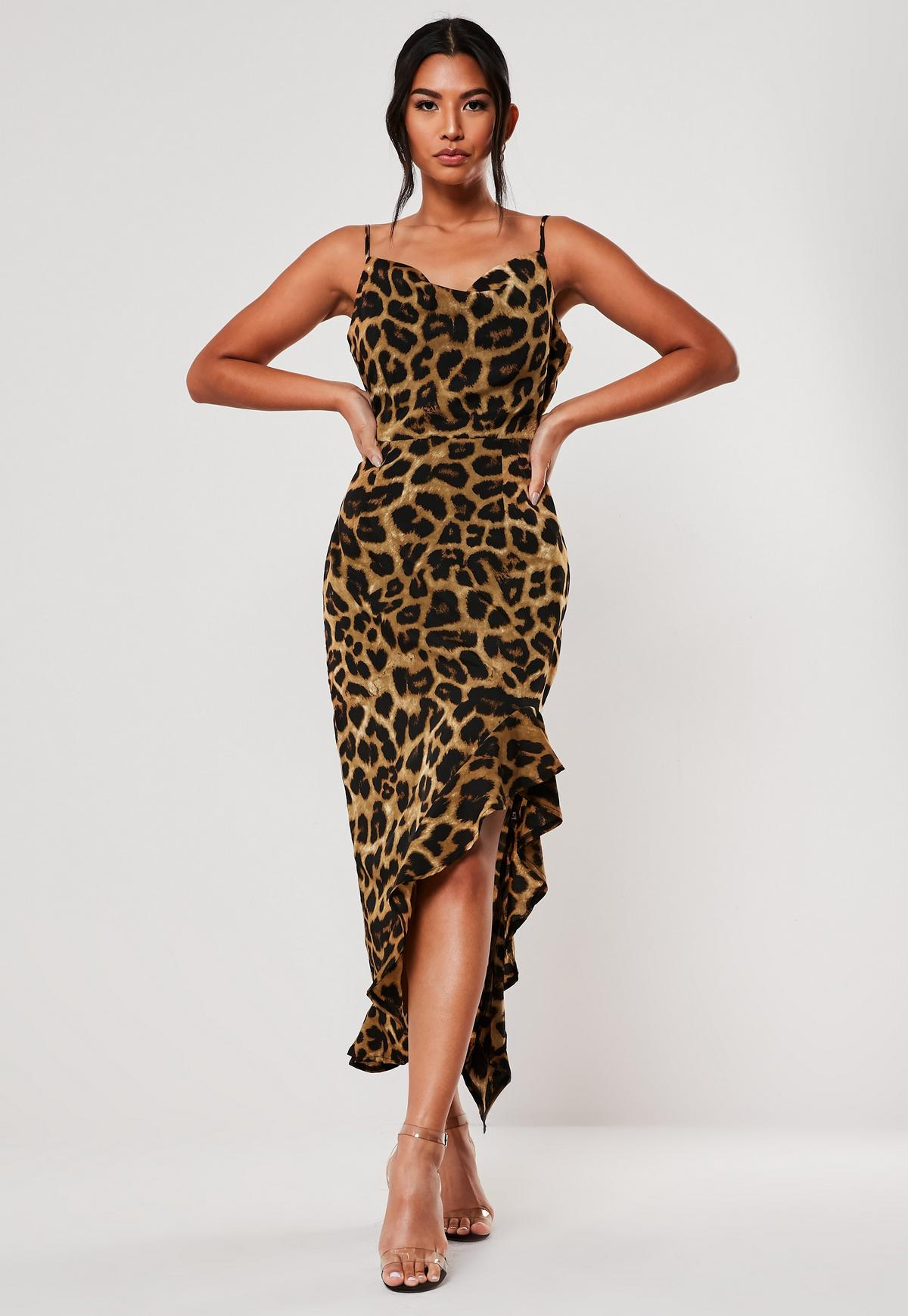 100% genuine retail prices aliexpress Brown Leopard Ruffle Side Cami Midi Dress | Missguided